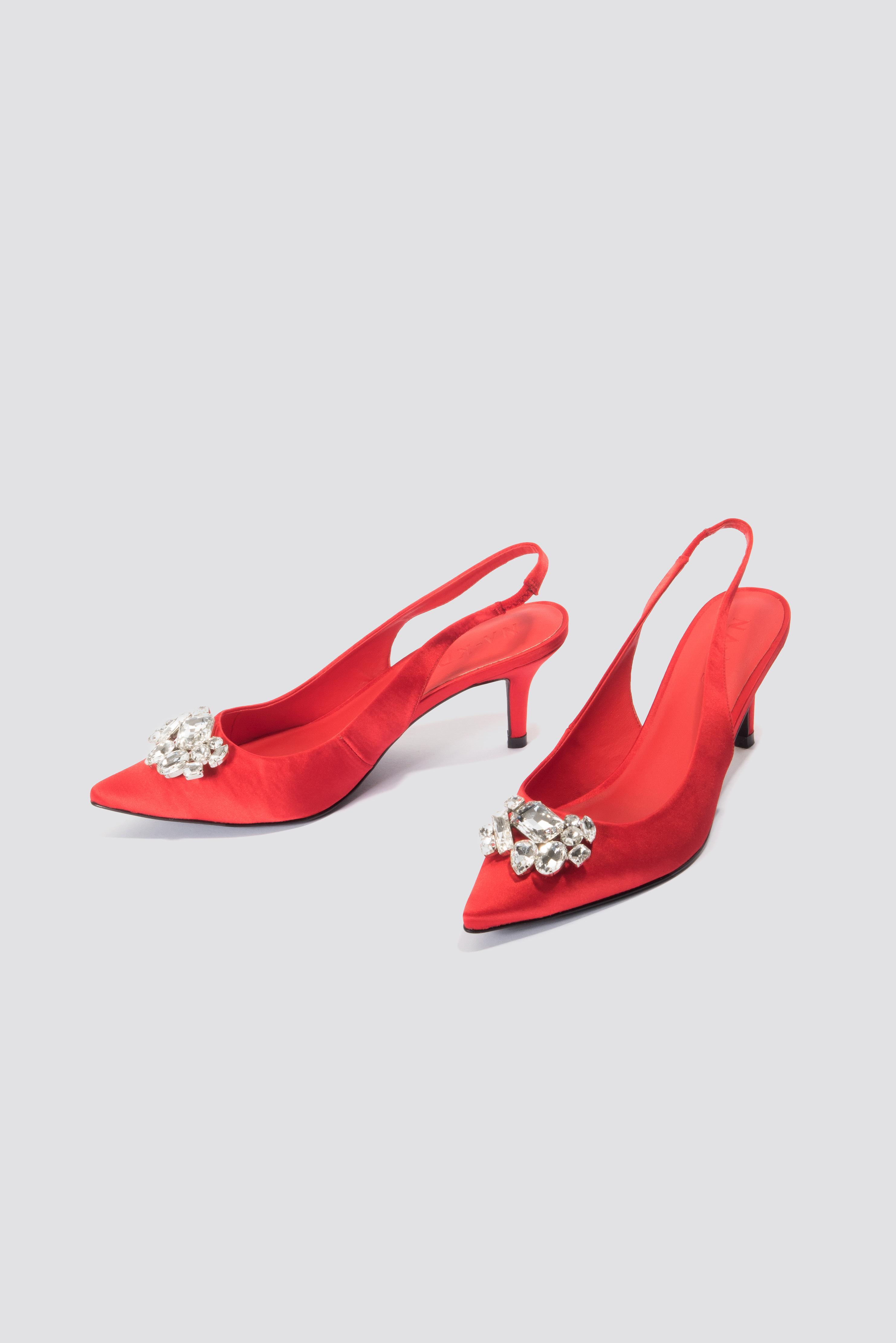 4f17d61b24 Lyst - NA-KD Light Embellished Kitten Heel Pumps Red in Red