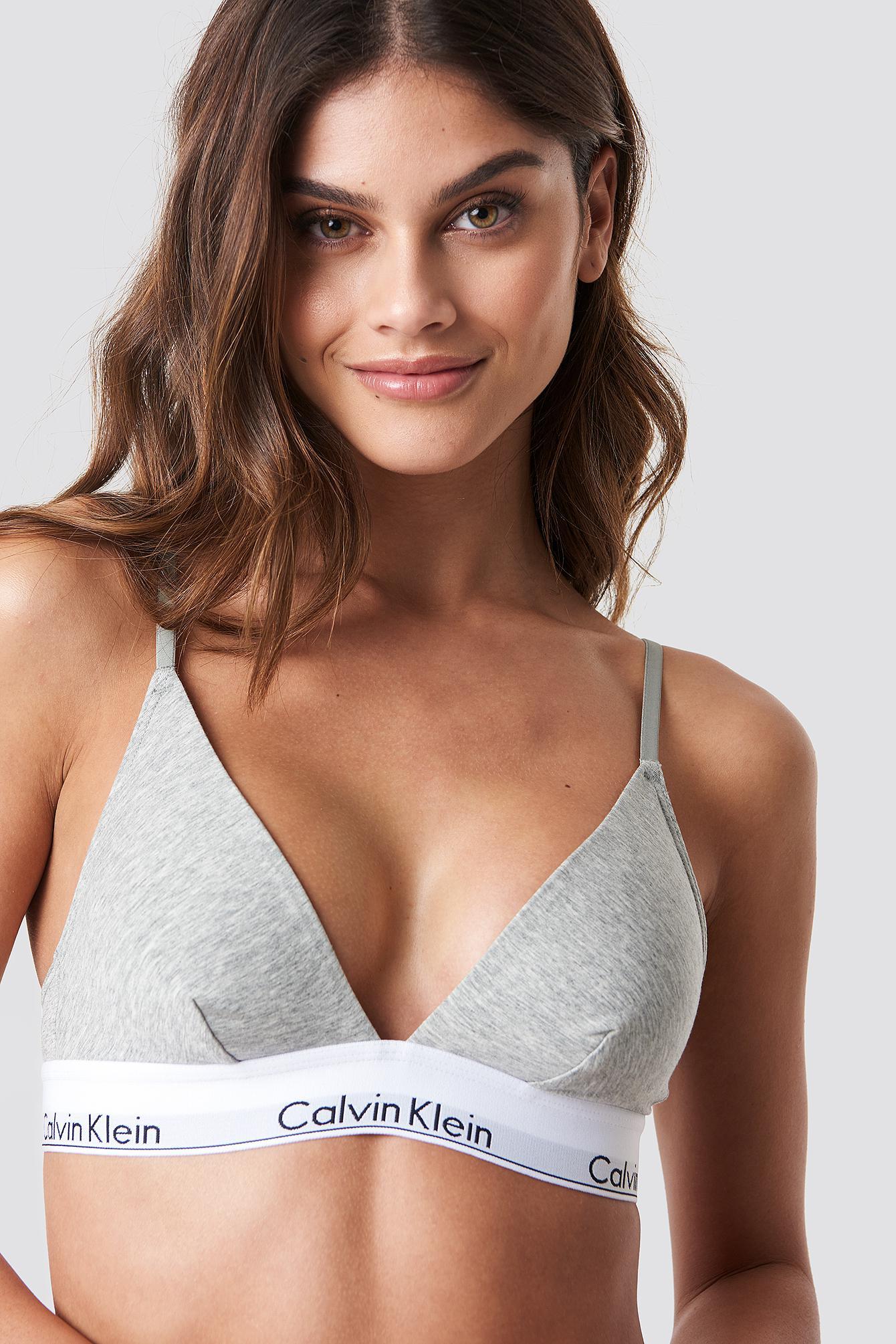 050c12667d Calvin Klein - Multicolor Triangle Bra Modern Cotton Grey Heather - Lyst.  View fullscreen