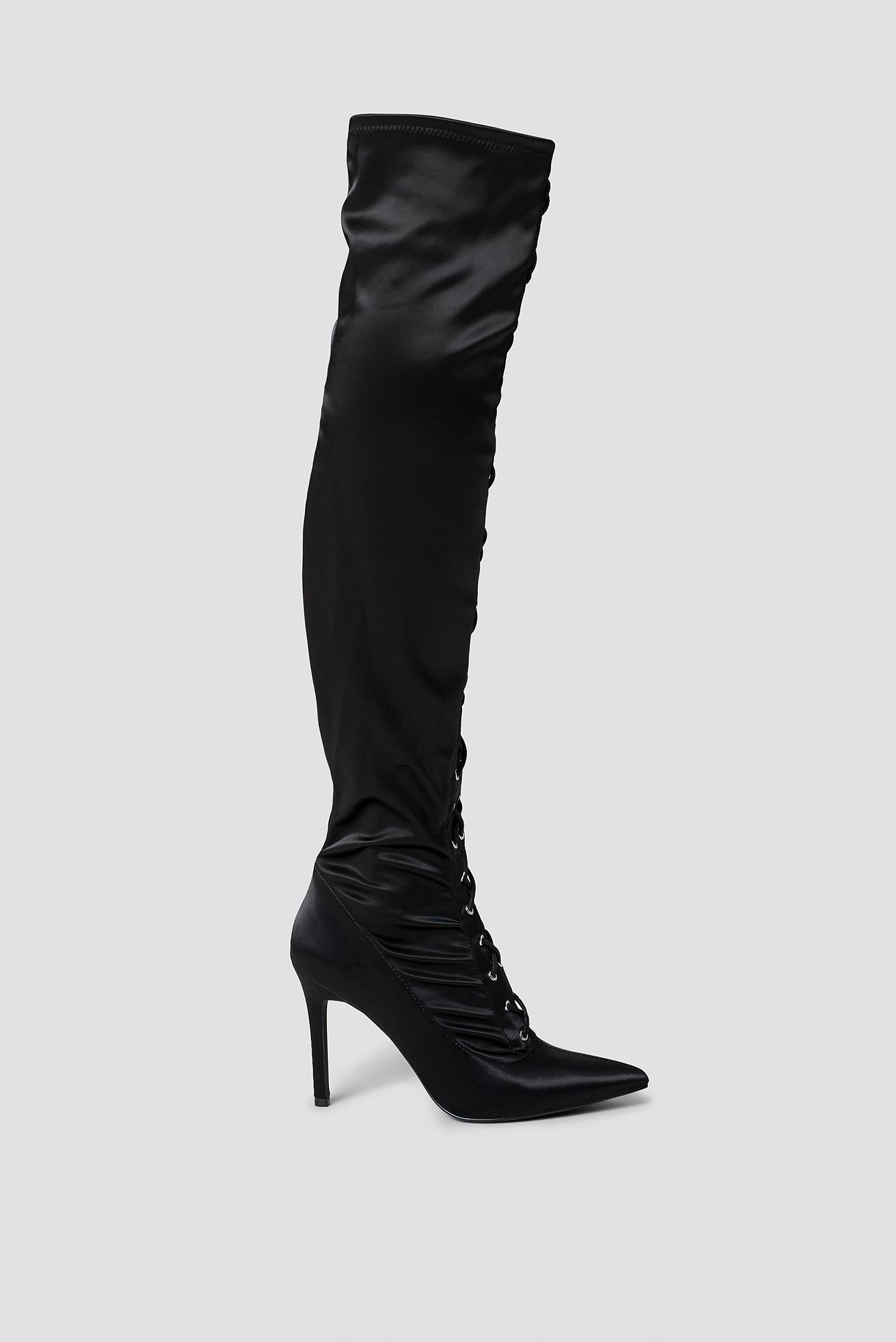 new concept 9f3a8 8498c NA-KD. Women s Lace Up Satin Overknee Boots Black