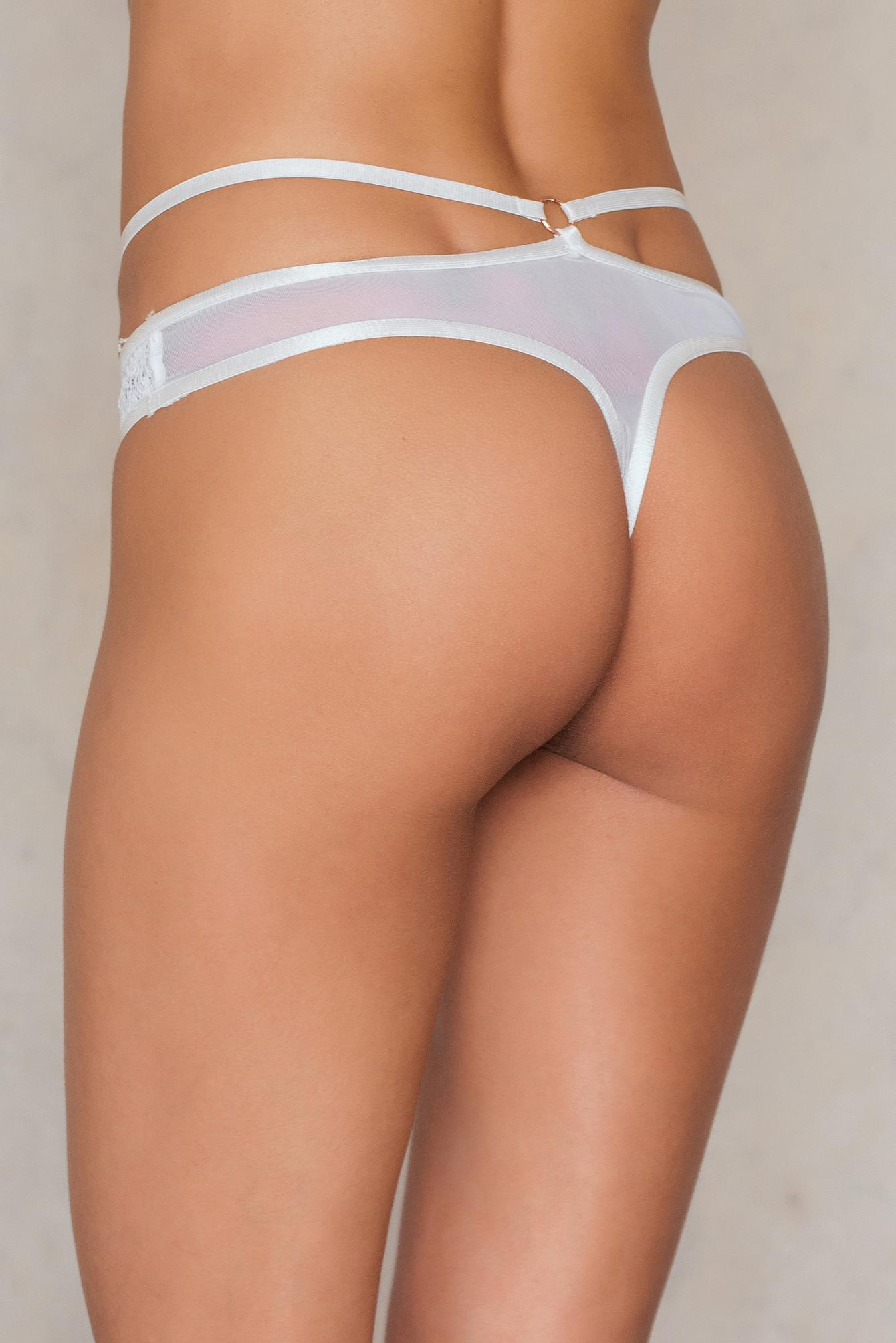 7b1932d503893 Lavish Alice Scallop Lace Strap Detail Mesh Thong in White - Lyst