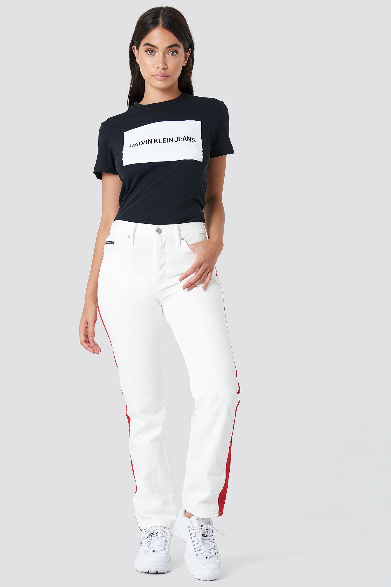 442af7505 Calvin Klein Institutional Box Logo Regular Fit Tee Ck Black in ...