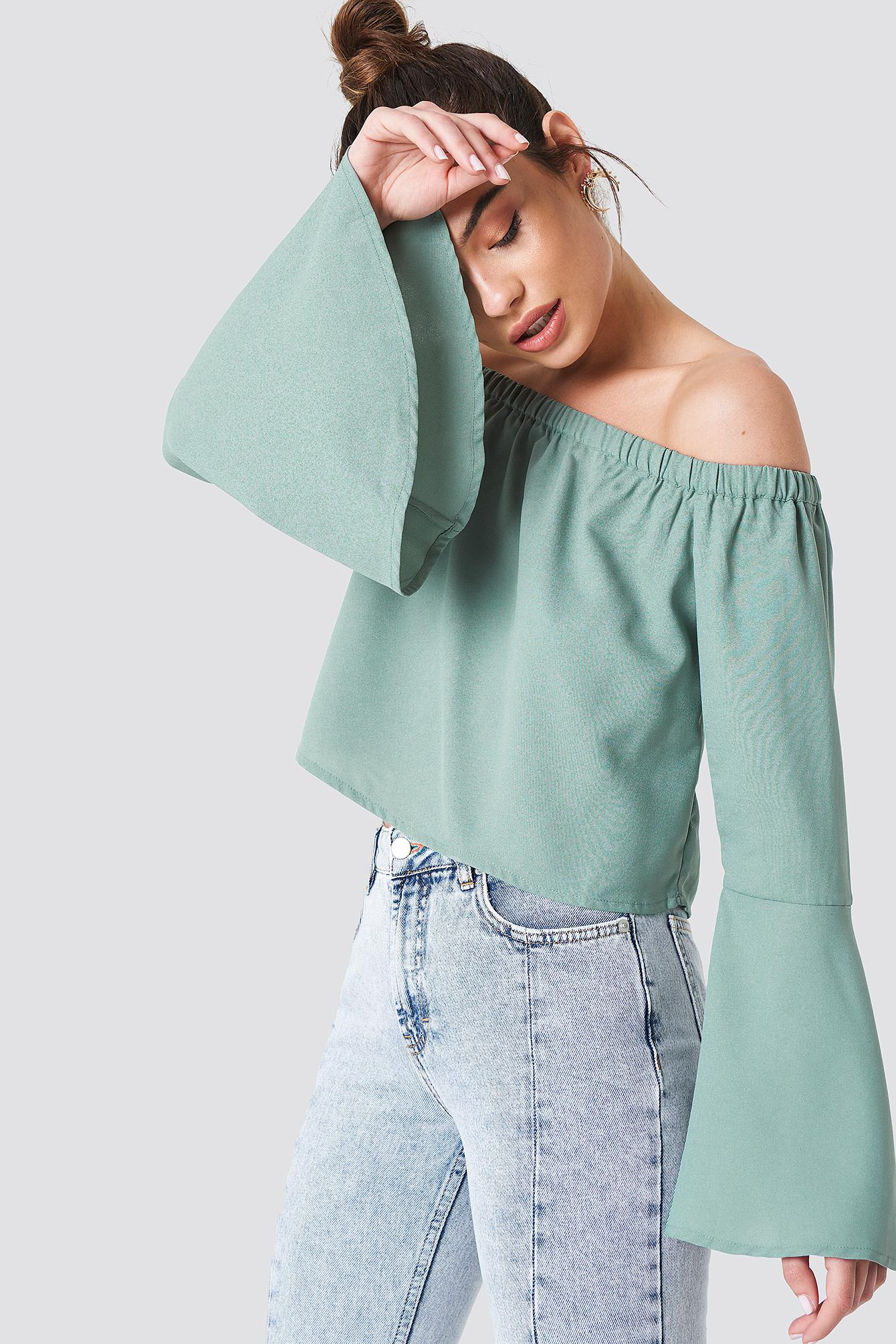 d2808b3675a4d8 Lyst - NA-KD Off Shoulder Woven Wide Sleeve Top Dusty Green in Green ...