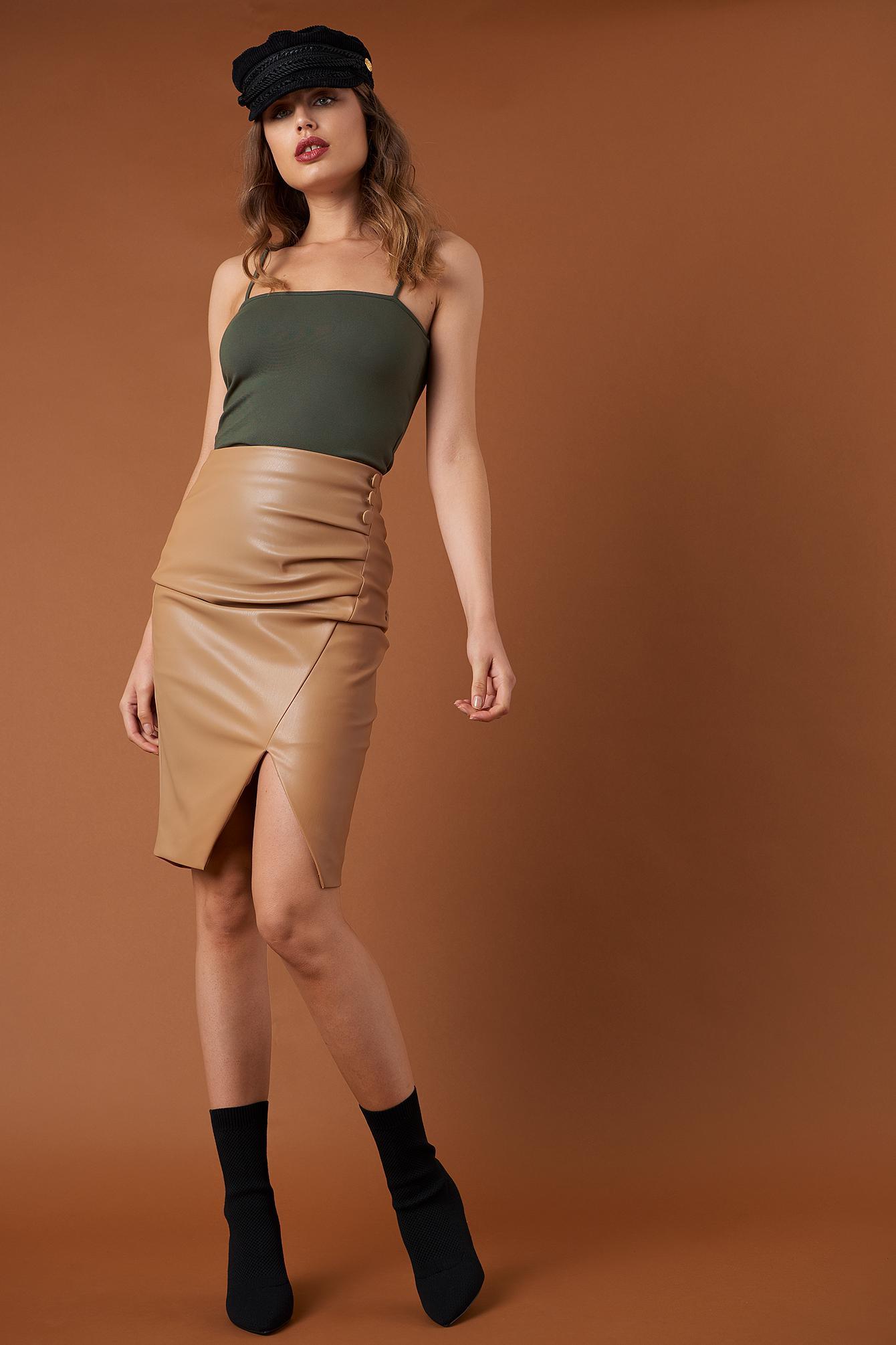 a8a2b52cc4 Na-Kd Draped Pu Skirt Tan in Brown - Lyst