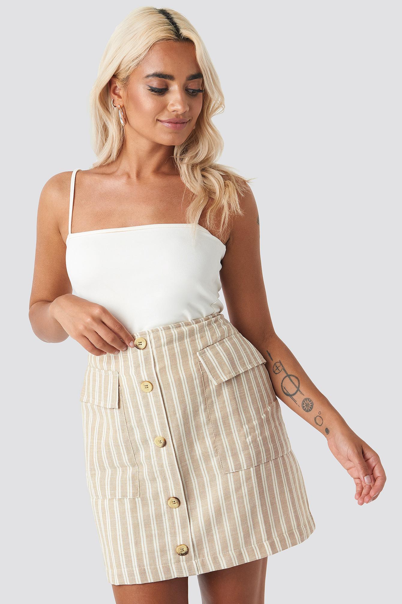 b027aead8a Trendyol - Natural Striped Mini Skirt Beige - Lyst. View fullscreen