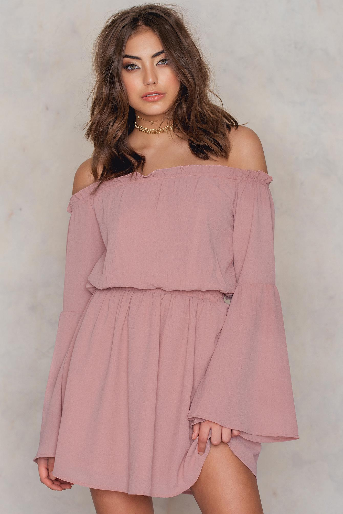 cc266f8a140 NA-KD Pink Wide Sleeve Off Shoulder Dress