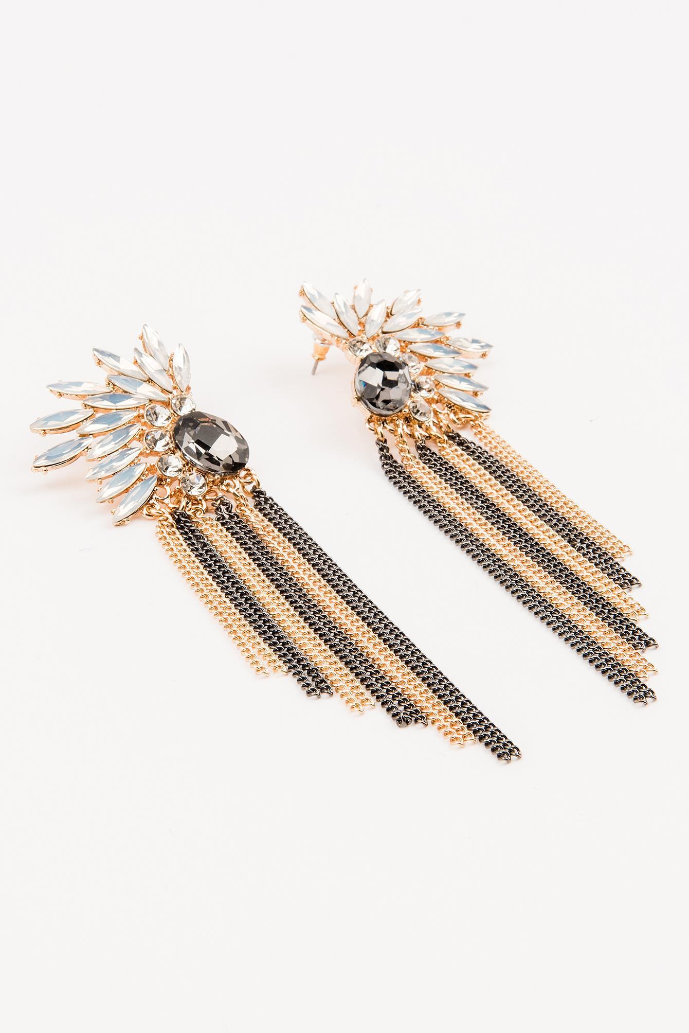 NA-KD Denim Chain Tassel Statement Earring in Gold (Metallic)