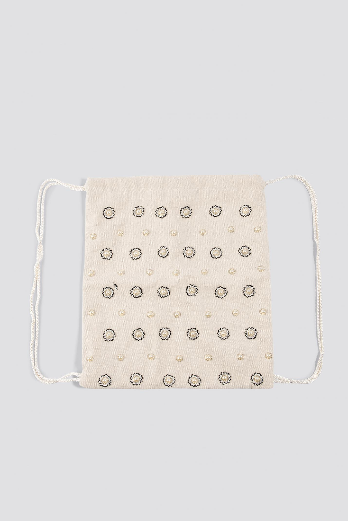 NA-KD Cotton Embellished Tote Sack White in Natural