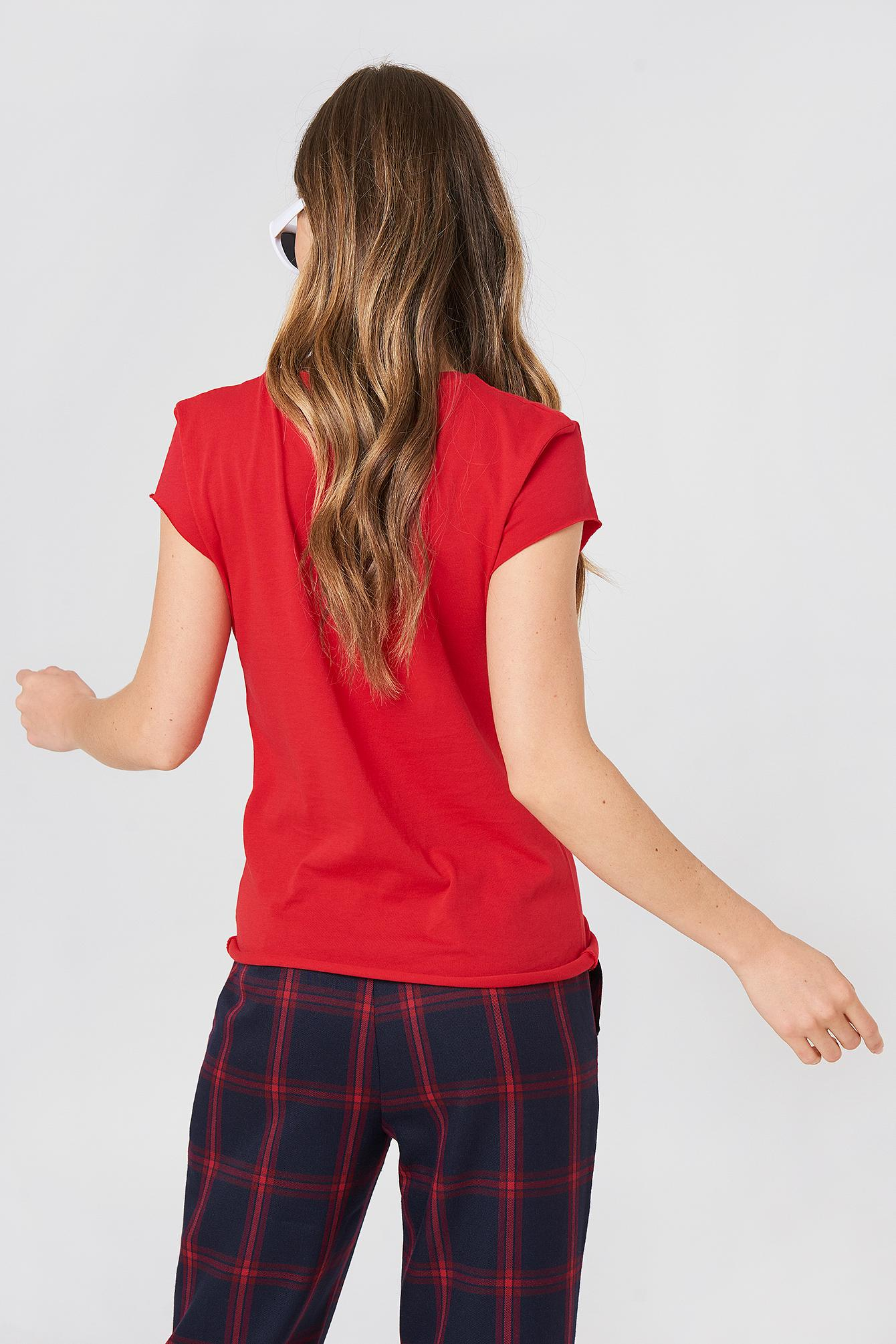 NA-KD Cotton J'adore Tee Red