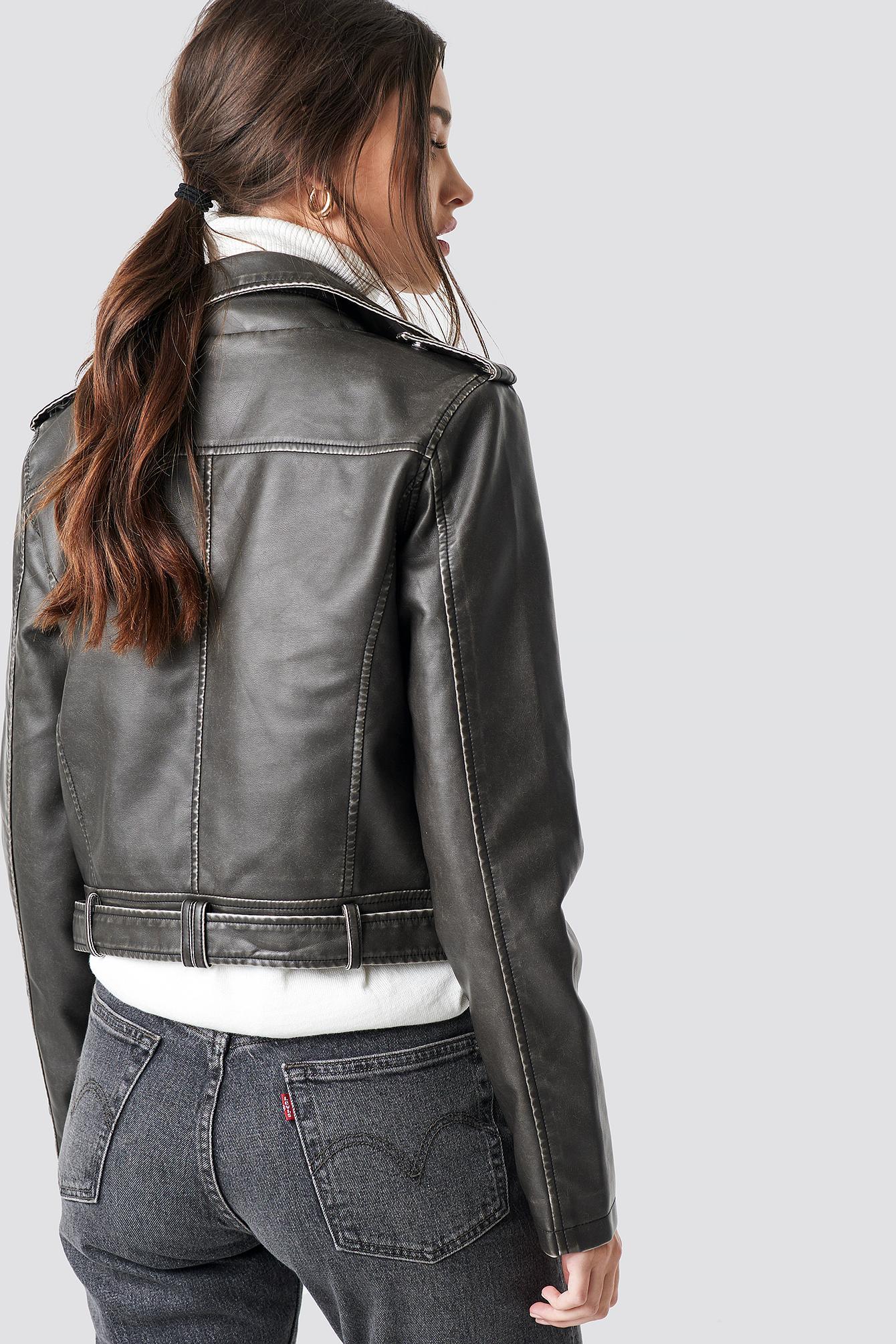 NA-KD Pu Leather Biker Jacket White - Lyst