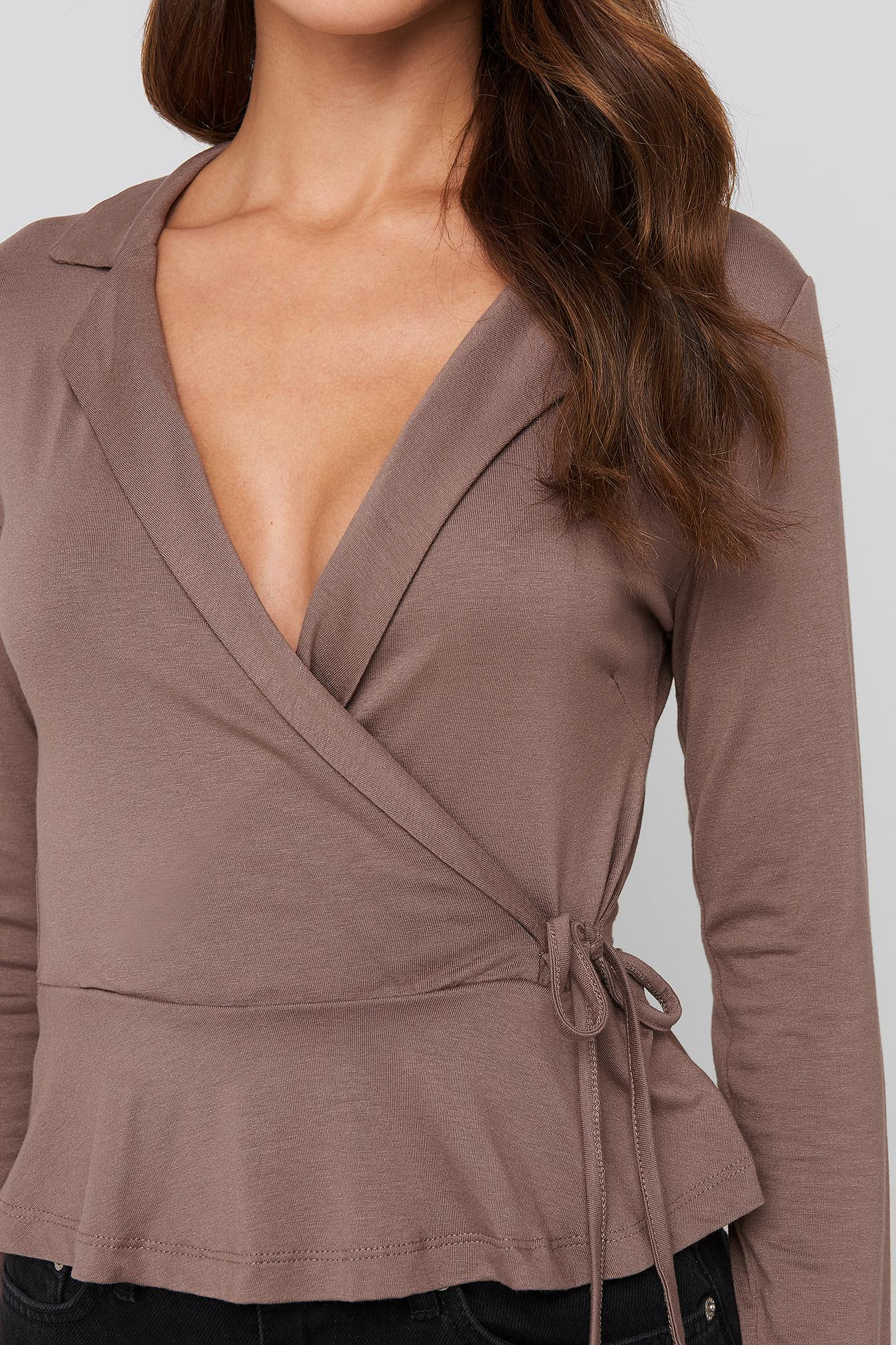 Side knot Detailed Wrap Blouse Trendyol en coloris Marron