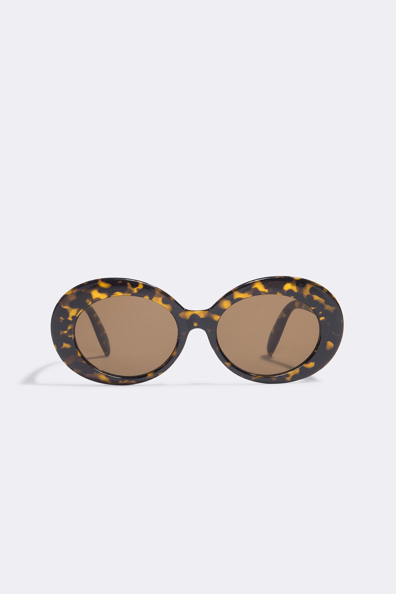 NA-KD Accessories Oval Sunglasses - Black,Yellow