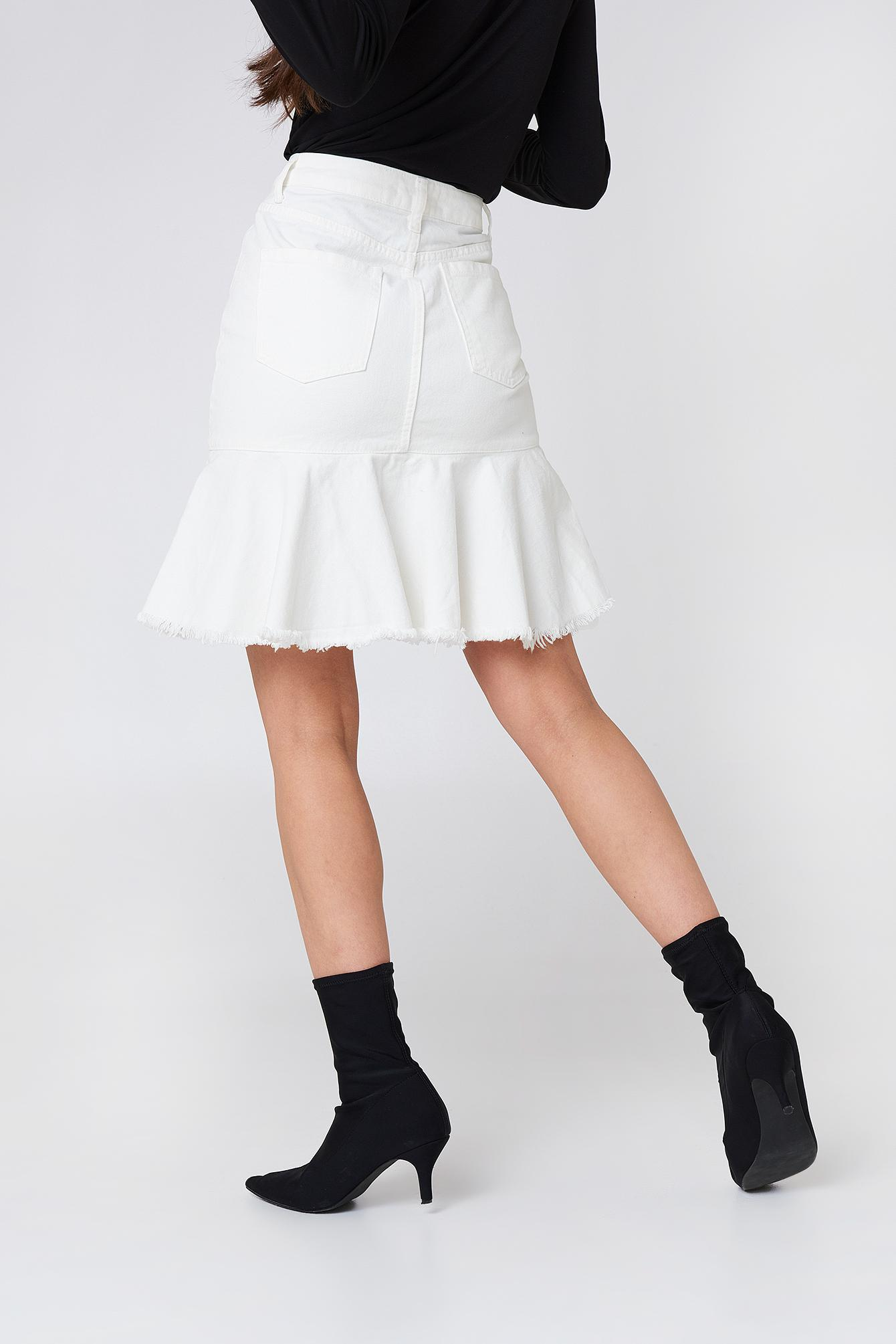 65610071e8 NA-KD Raw Frill Hem Denim Skirt White in White - Save 70% - Lyst
