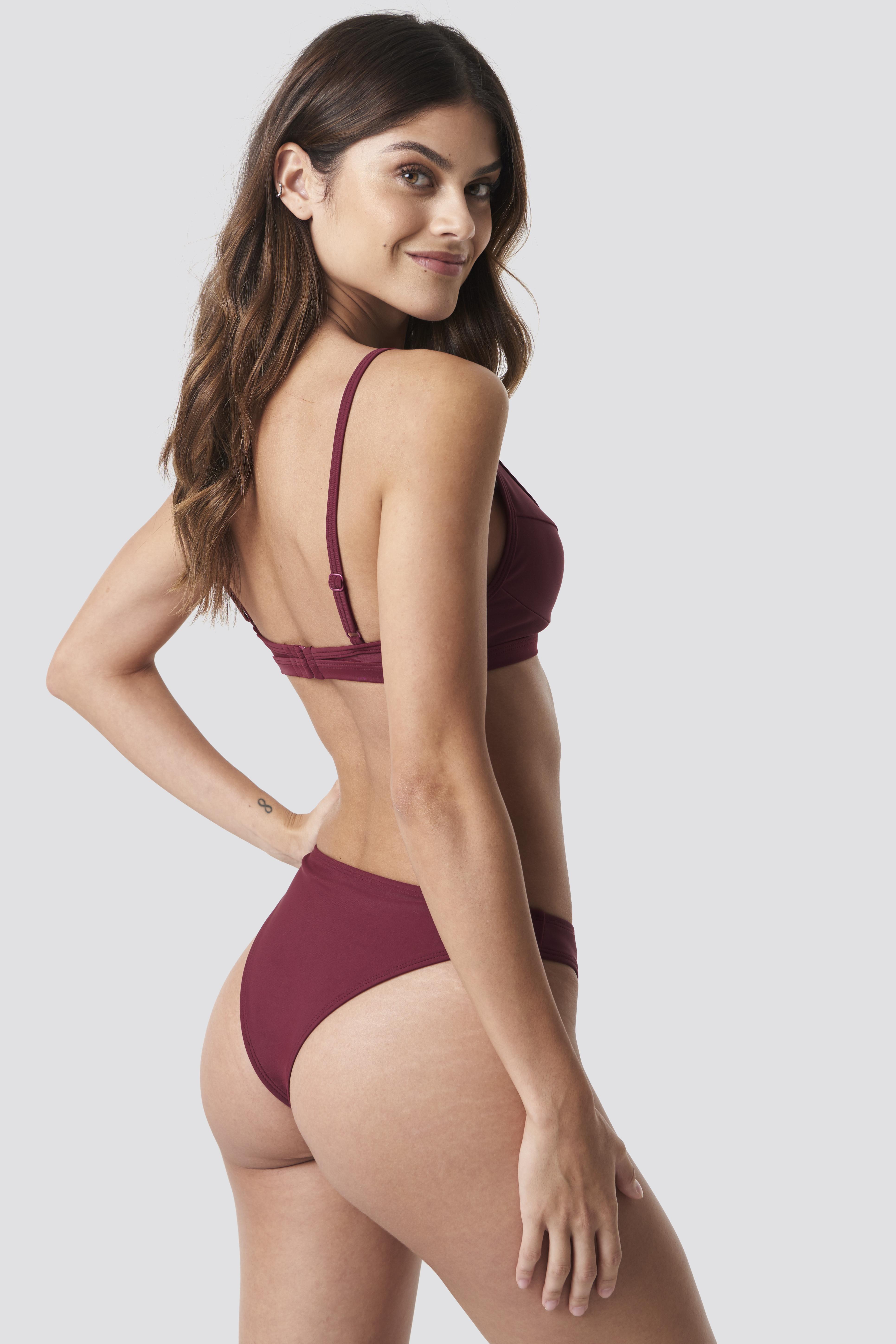 be7548841bbaf Lyst - NA-KD High Cut Bikini Panty Dark Red in Red