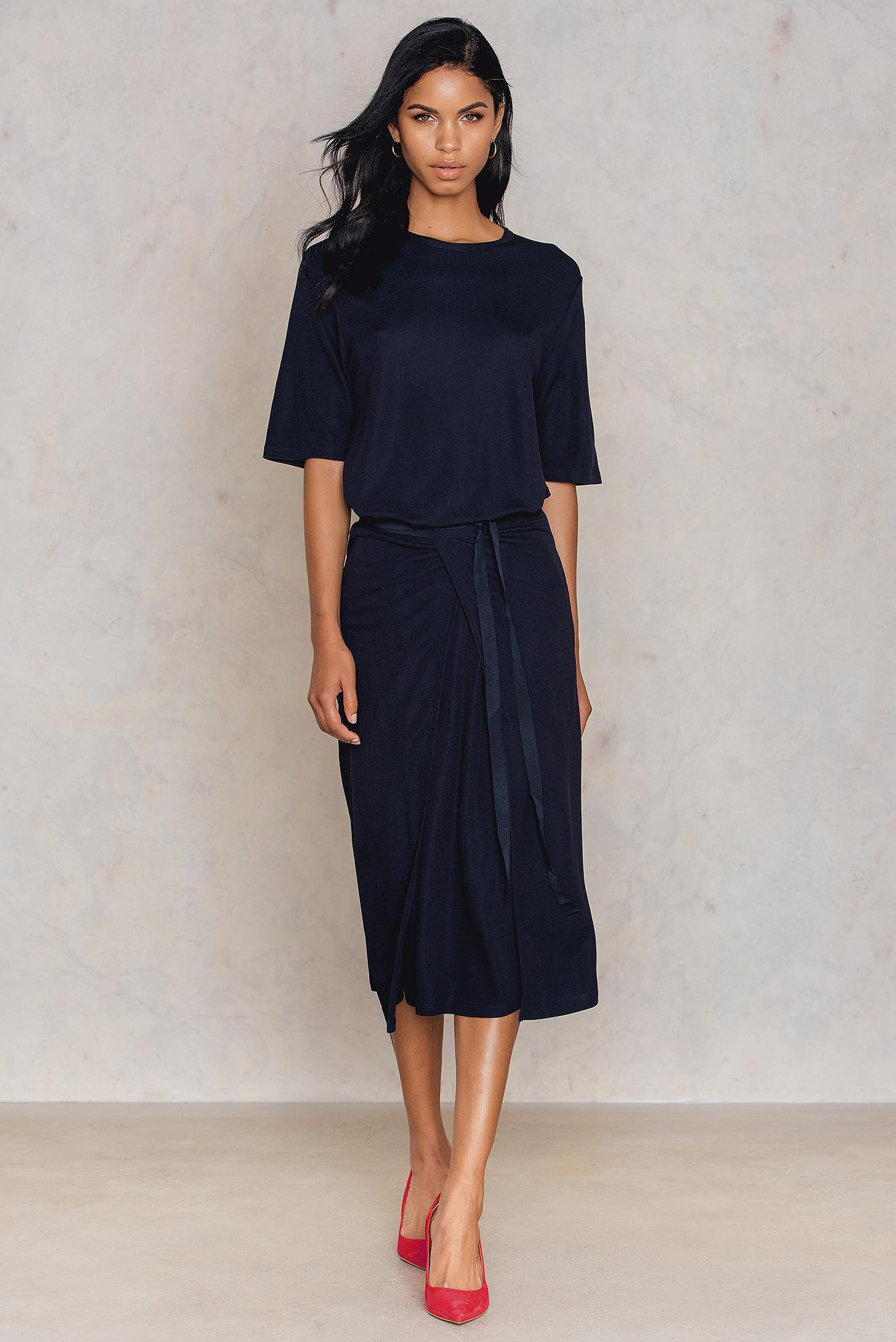 K Double Dress Filippa Jersey Blue Lyst Wrap In lFK3JT1c