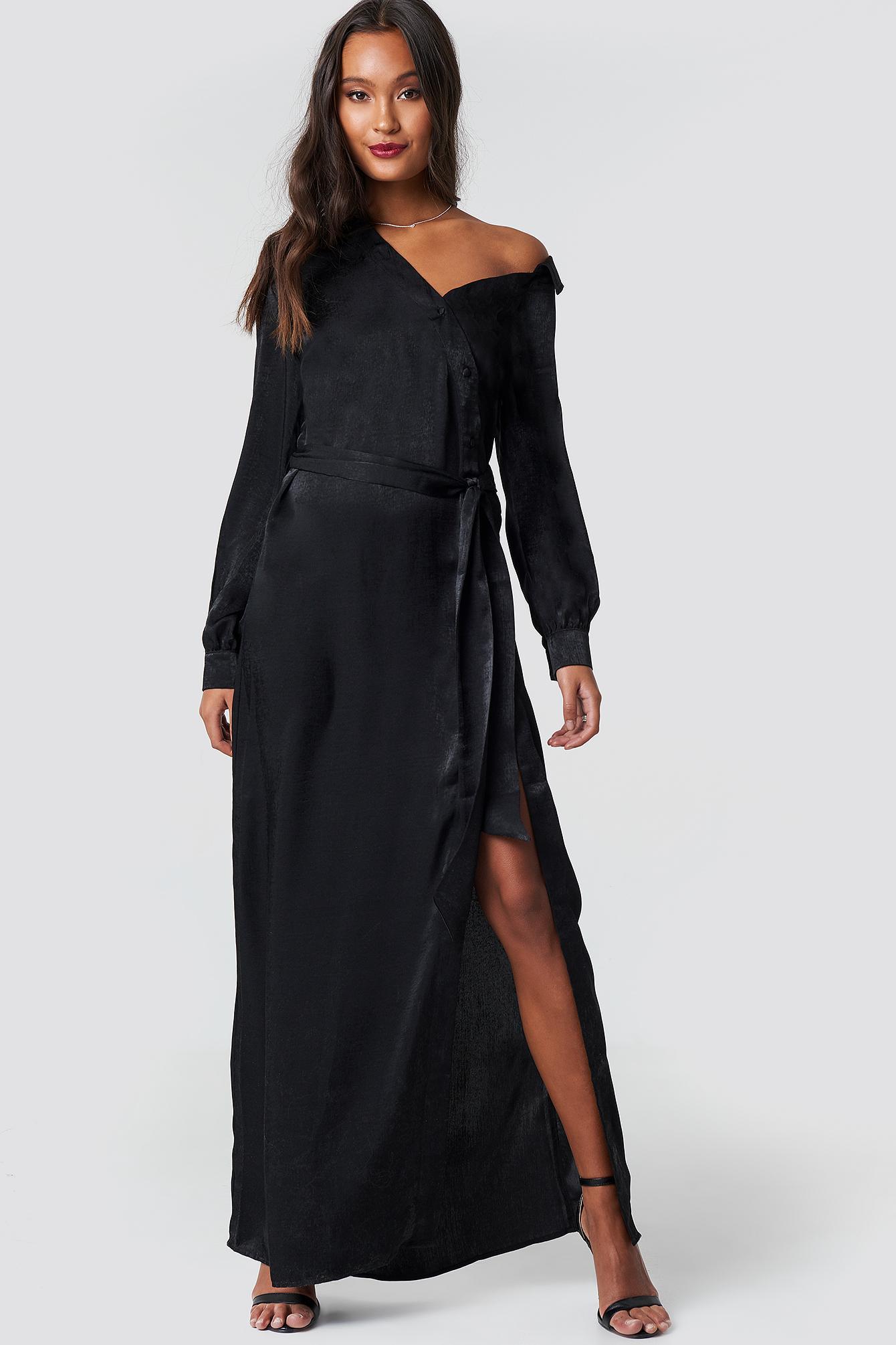 43bcecdbdcc8f Lyst - NA-KD Slip Shoulder Tie Waist Shirt Black in Black