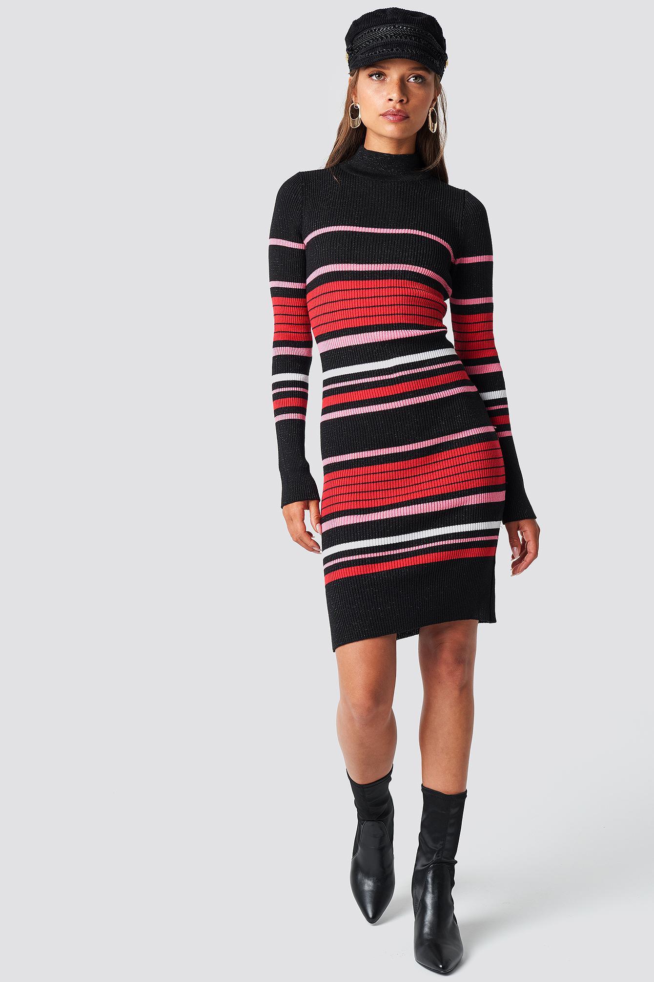 a766c843d85 Trendyol - Stripe Sweater Midi Dress Black - Lyst. View fullscreen