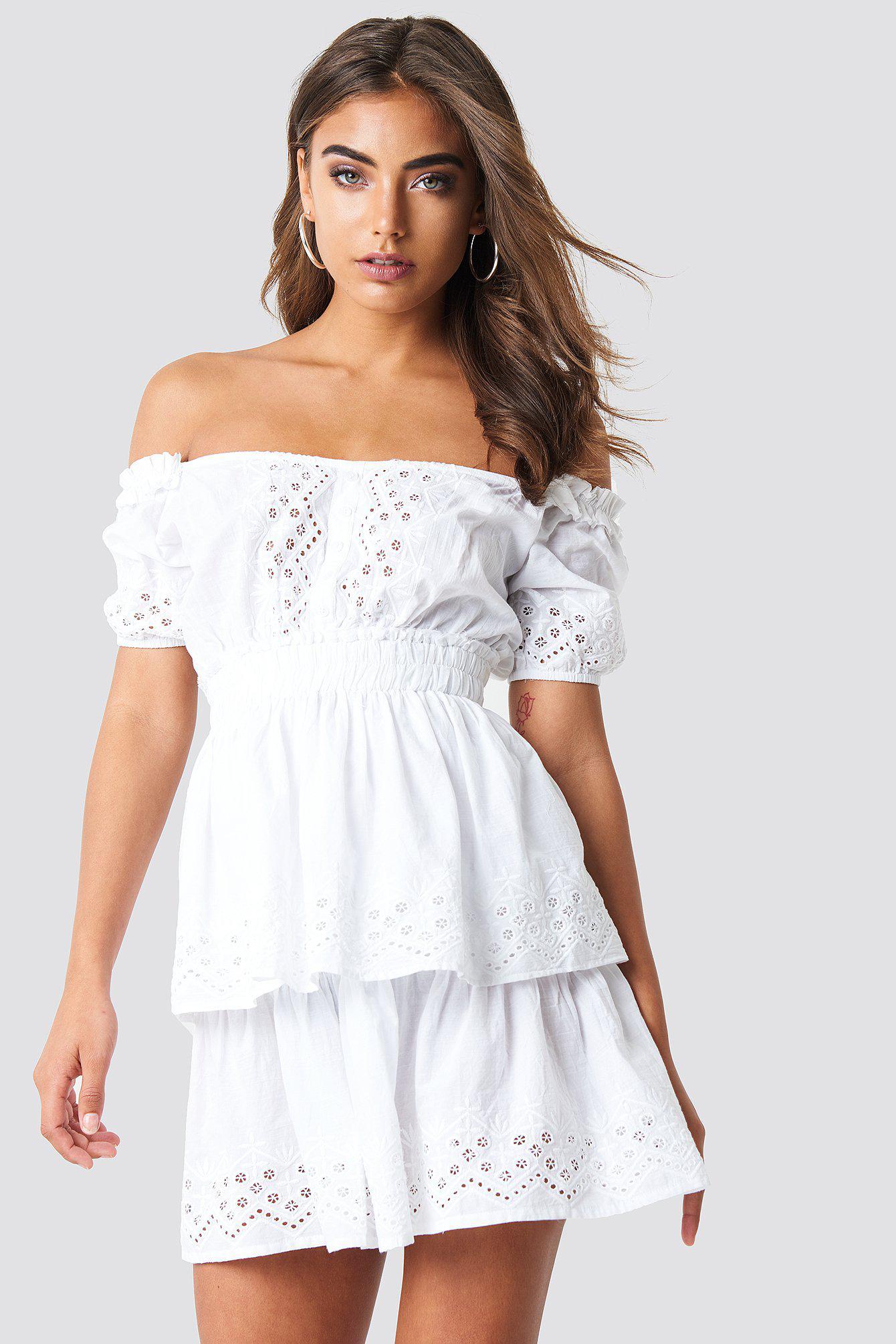 6bf627d55fdee NA-KD - Off Shoulder V Neck Crochet Frill Dress White - Lyst. View  fullscreen