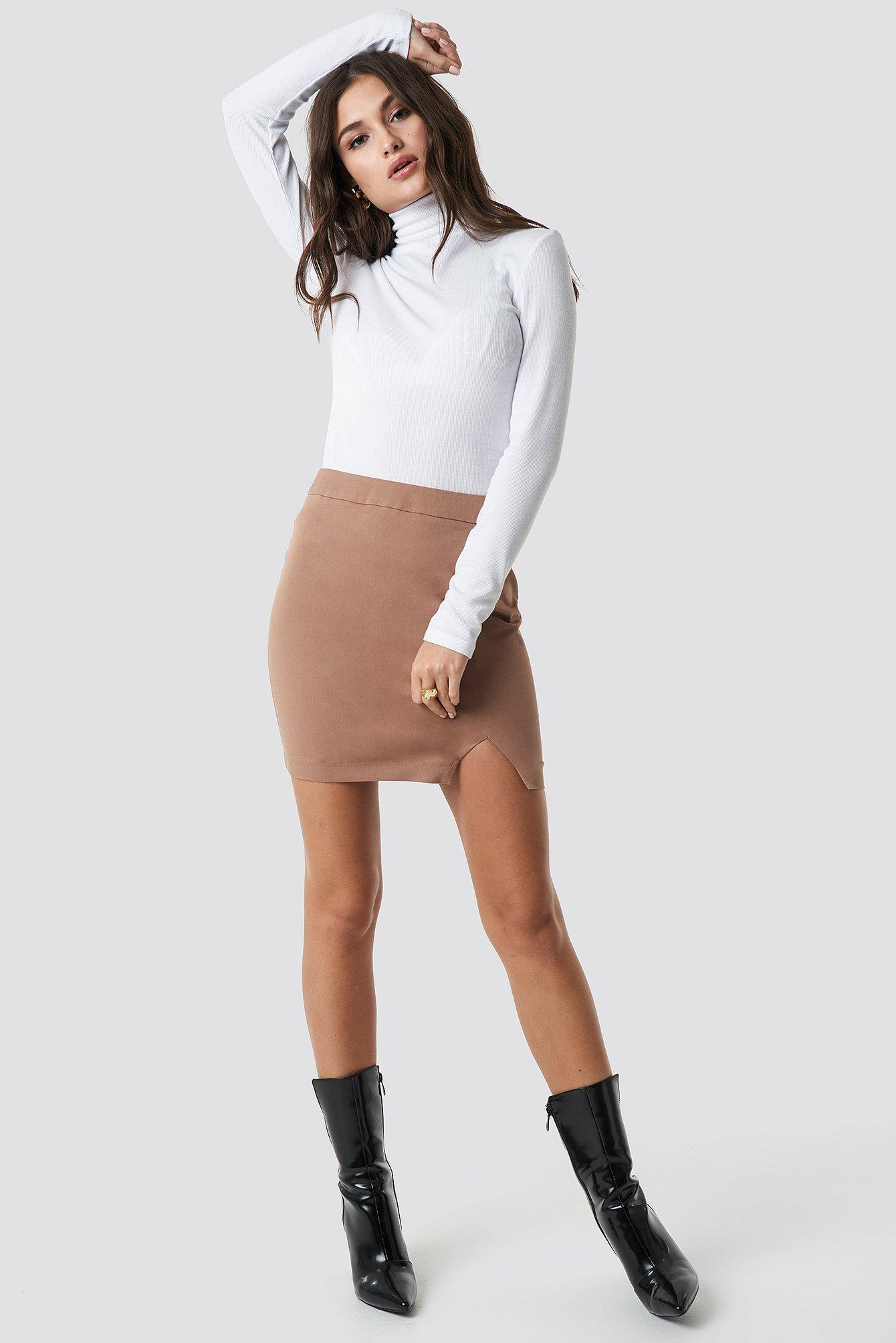 31cfed5404 Lyst - Na-Kd Front Slit Mini Skirt Brown in Brown