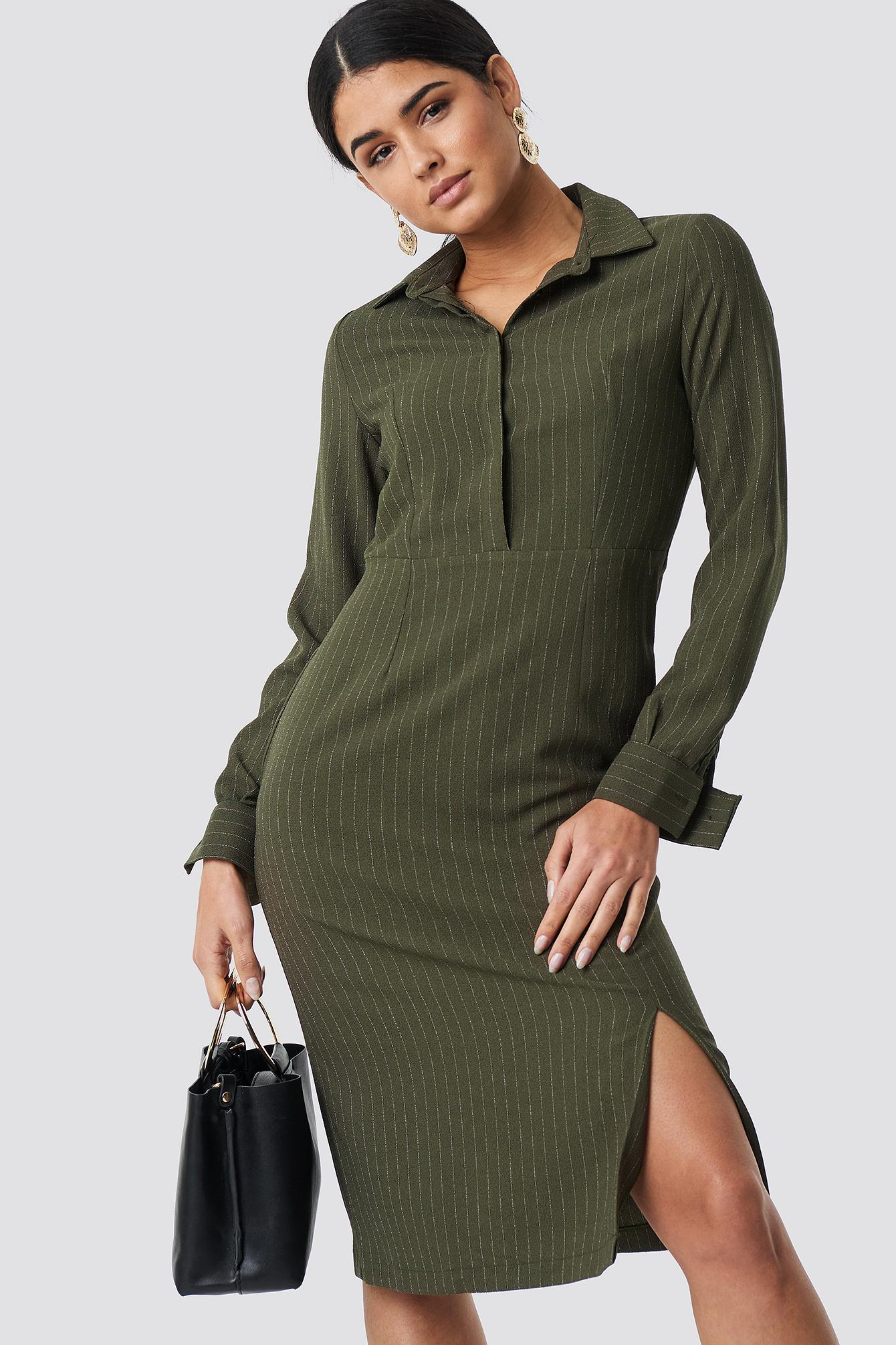 1c4ebe46339 Trendyol Striped Midi Dress Khaki in Green - Lyst