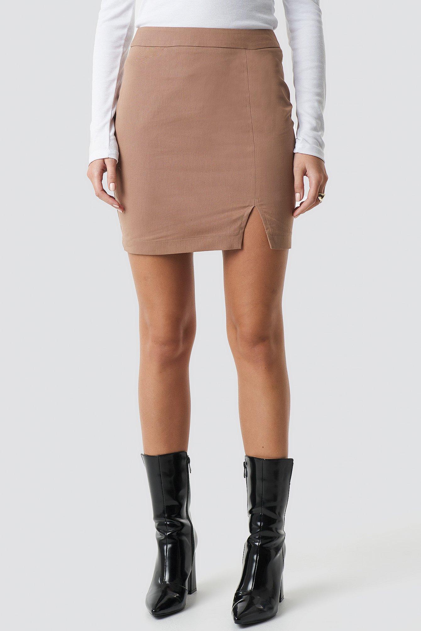 71bd944282 NA-KD - Front Slit Mini Skirt Brown - Lyst. View fullscreen