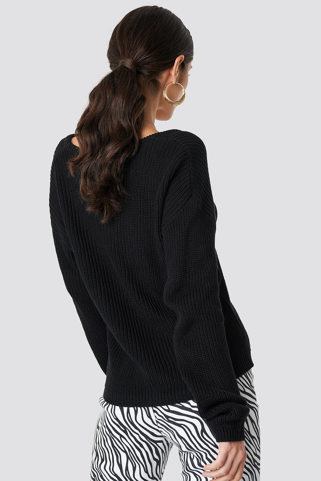877eb35952b597 Lyst - NA-KD Deep Front V-neck Knitted Sweater Black in Black