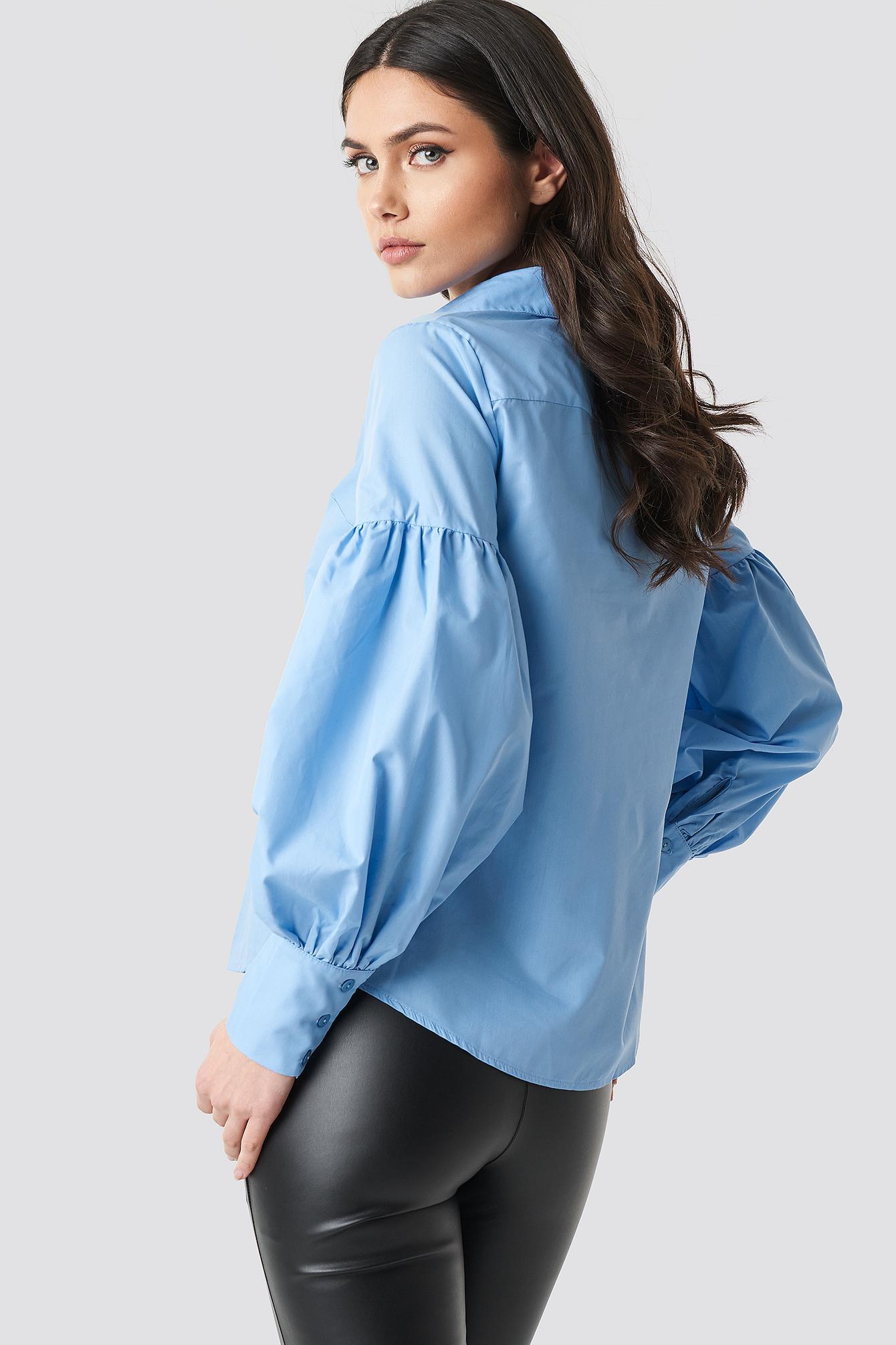 cad94e71a4357 Trendyol Milla Balloon Sleeve Shirt Blue in Blue - Lyst