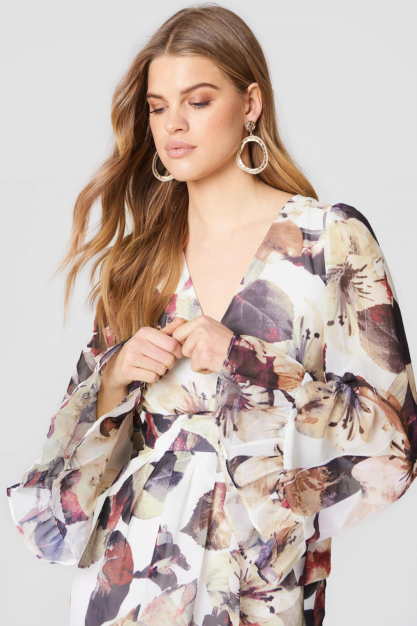 Lucca Couture Synthetic Hailey Belted Maxi Dress Multi Floral Print