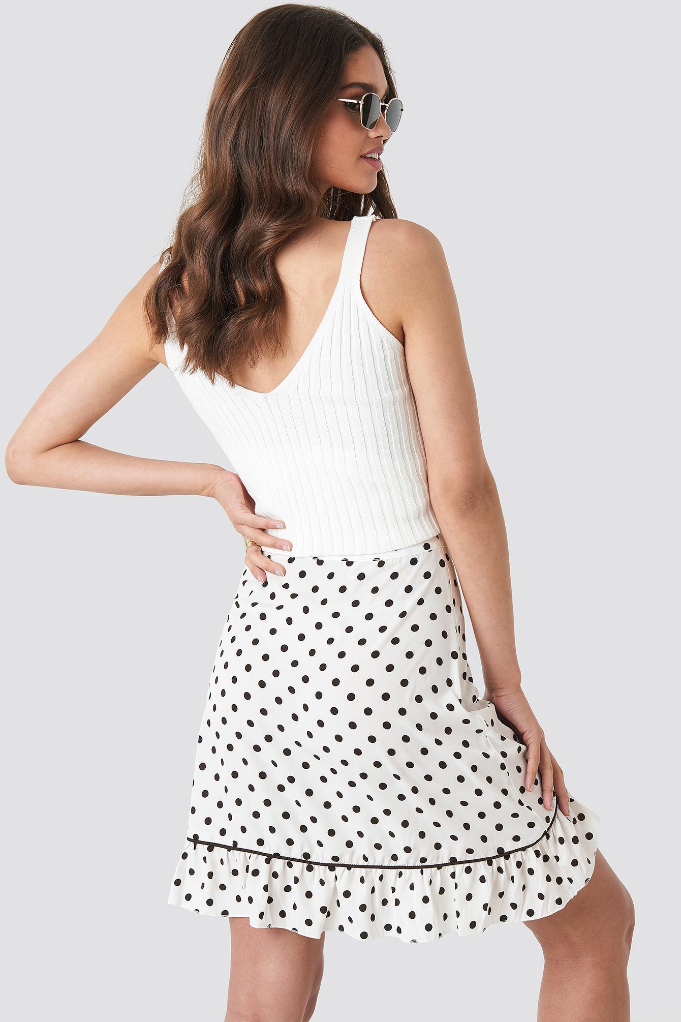 Women's Black Binding Detail Dot Mini Skirt White