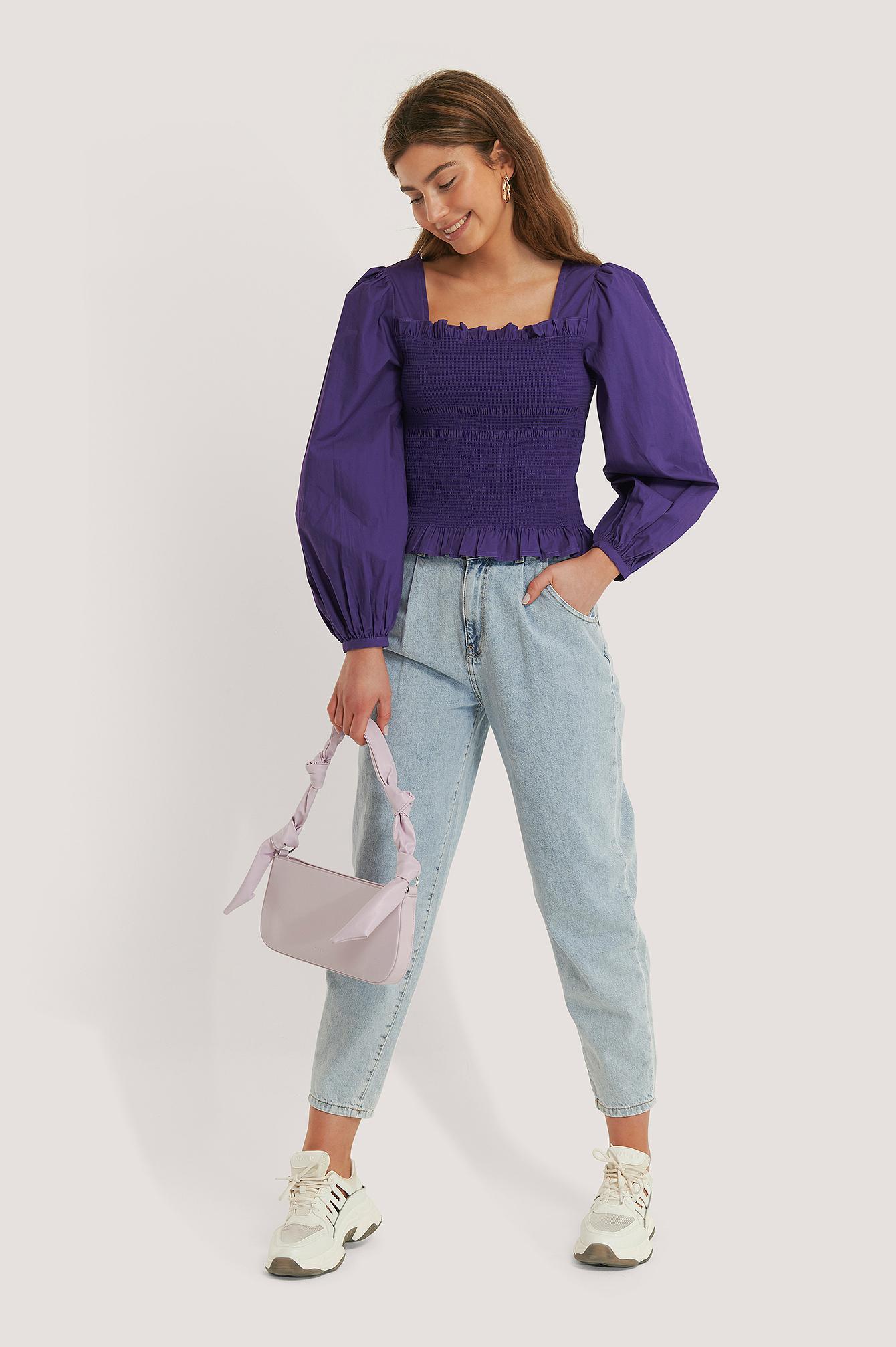 Smocked Balloon Sleeve Blouse Coton NA-KD en coloris Violet