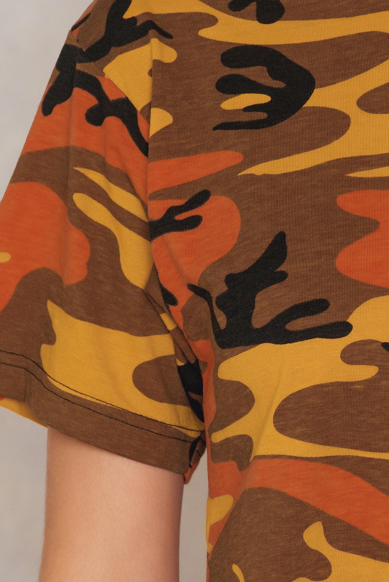 Leah Kirsch Cotton Camo Crop Top in Orange