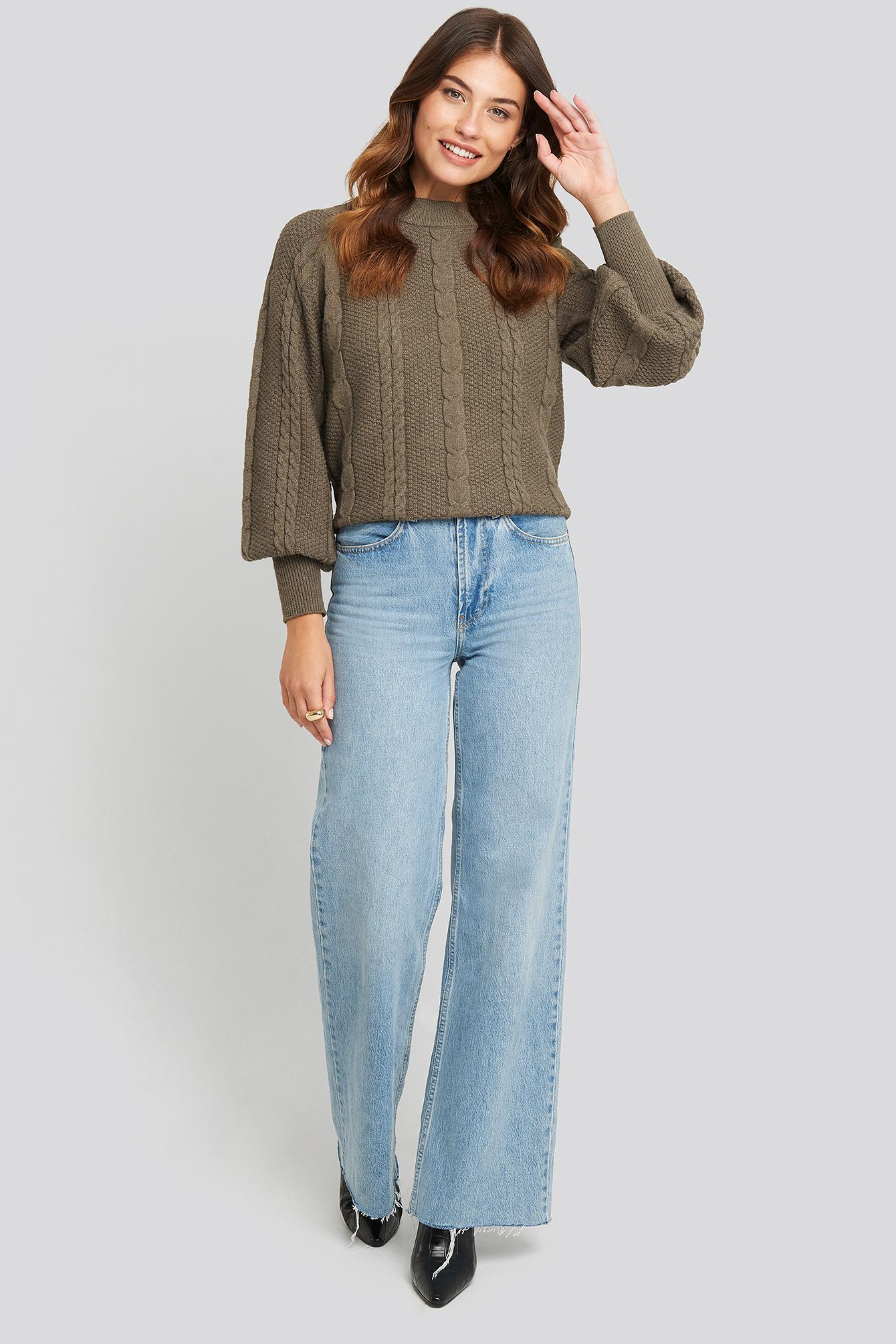 Balloon Sleeve Cable Knitted Sweater Synthétique NA-KD en coloris Marron