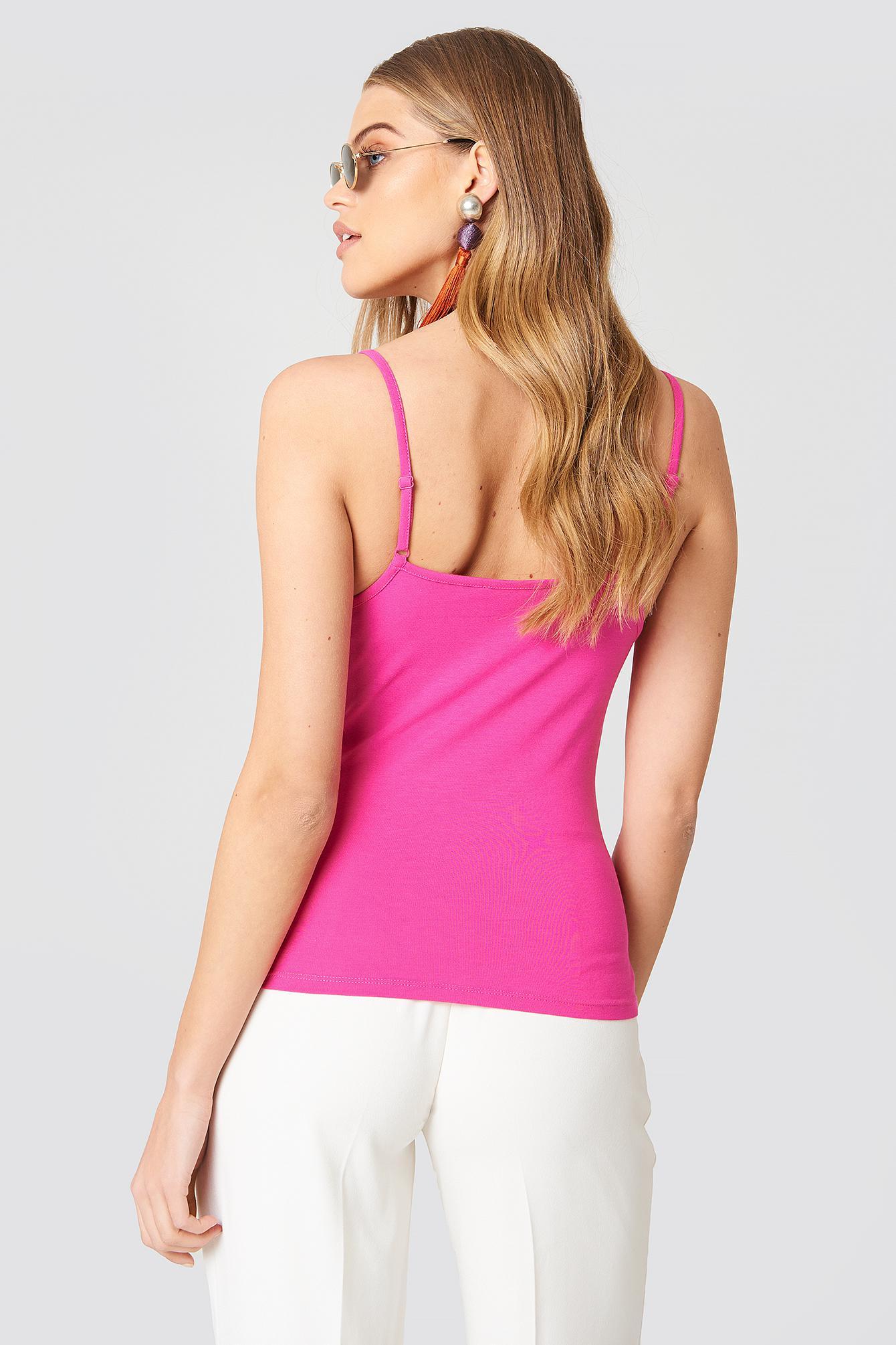 4f0dcd33c840f1 NA-KD V-neck Basic Singlet Strong Pink in Pink - Lyst