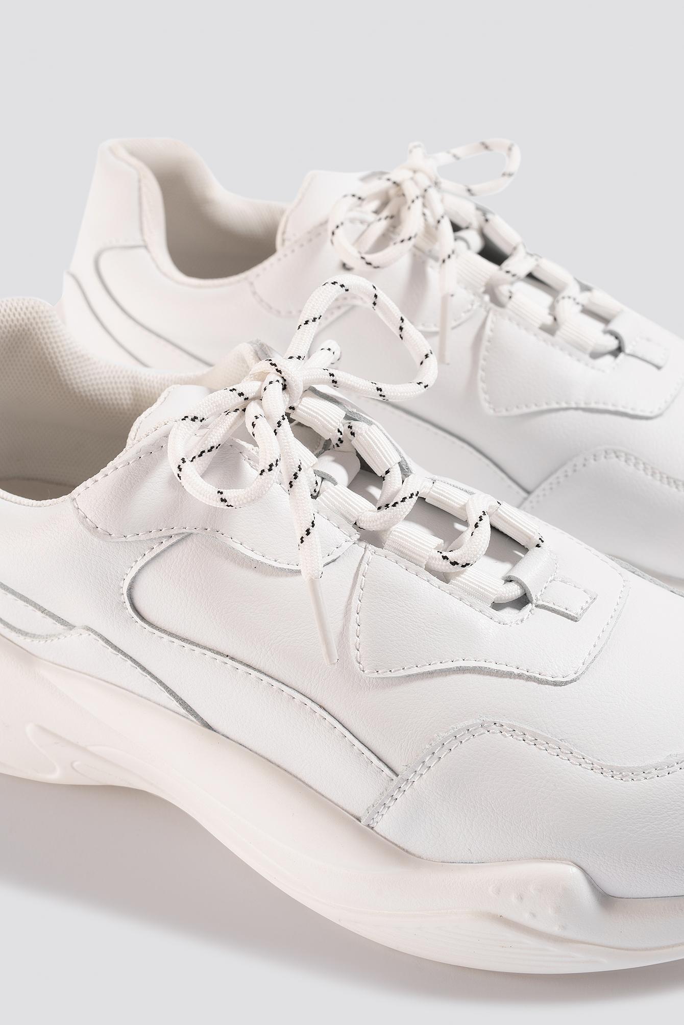 Low Striped Lace Trainers NA-KD en coloris Blanc