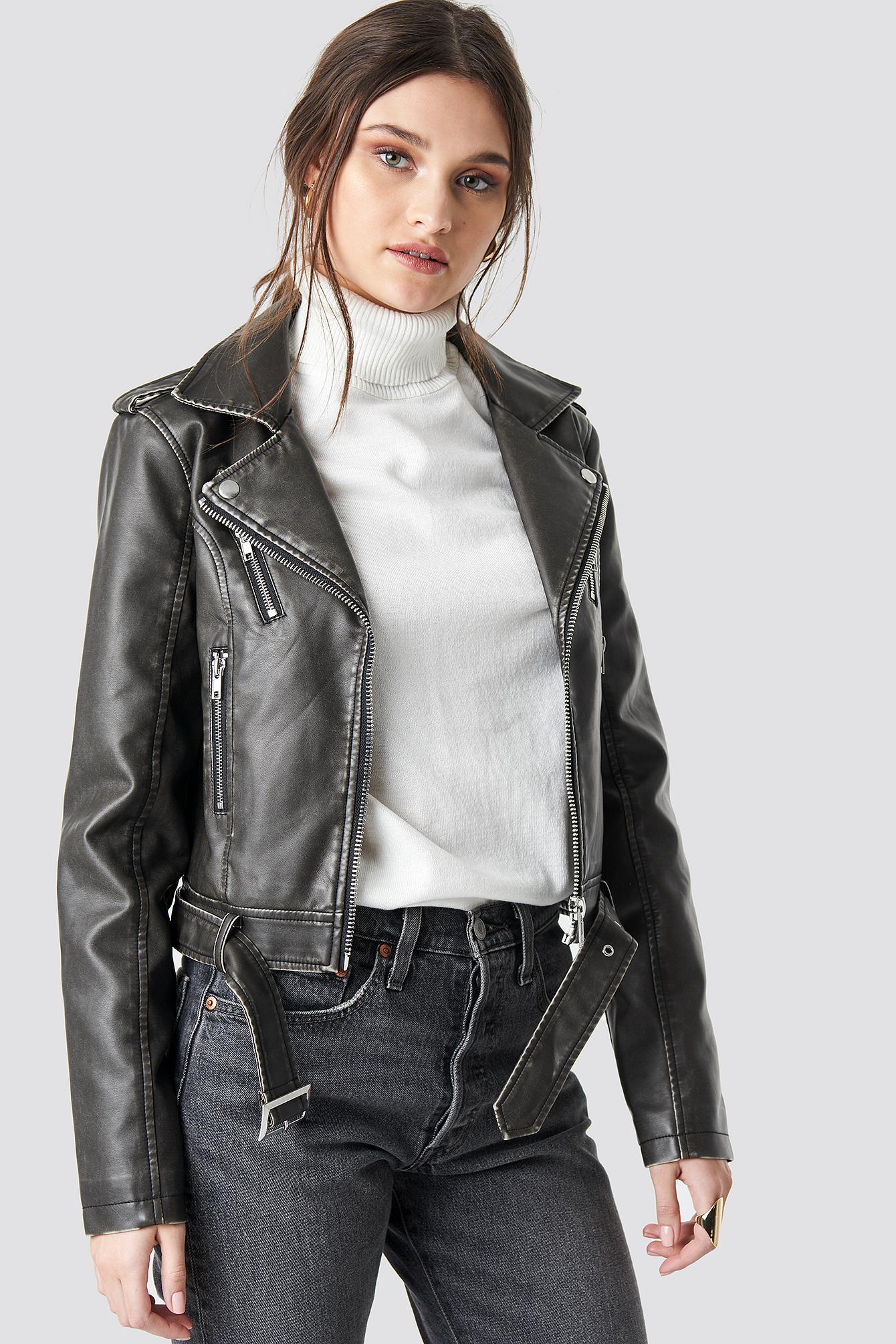NA-KD Pu Leather Heart Biker Jacket Black/red Print - Lyst