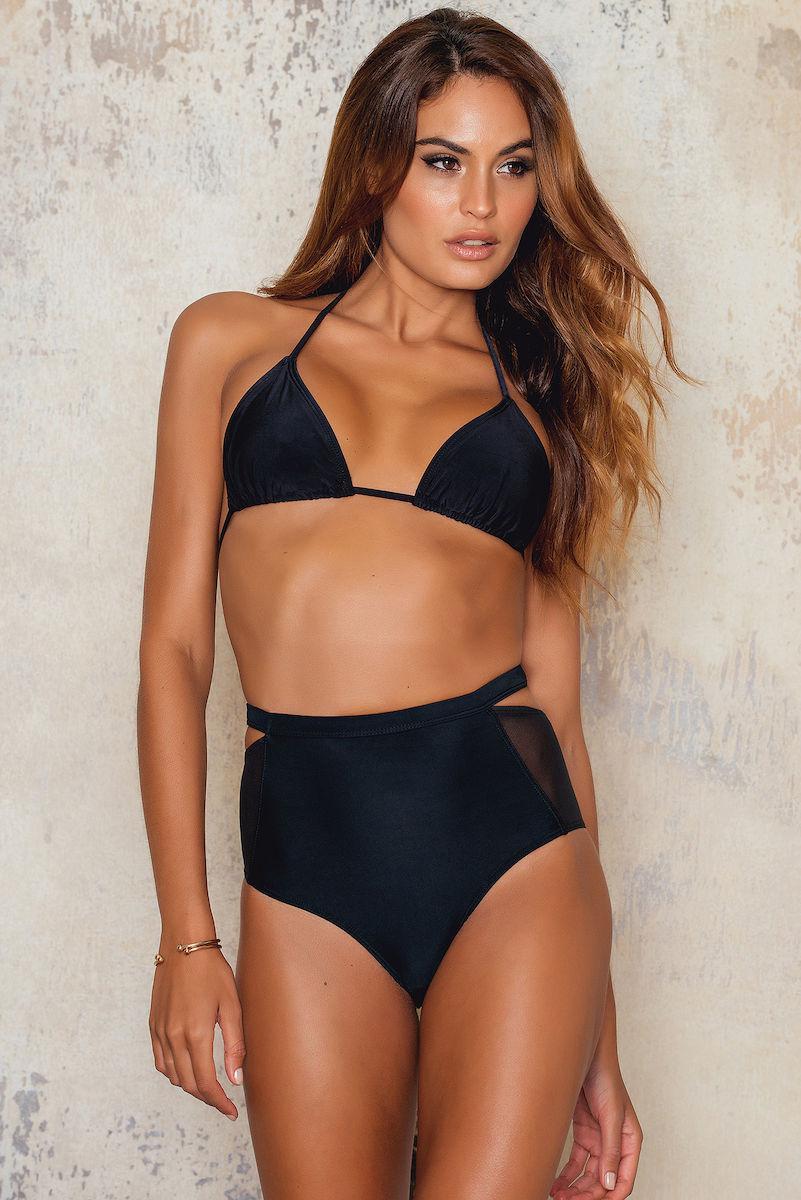 Lyst Na Kd High Waist Mesh Bikini Bottom In Black
