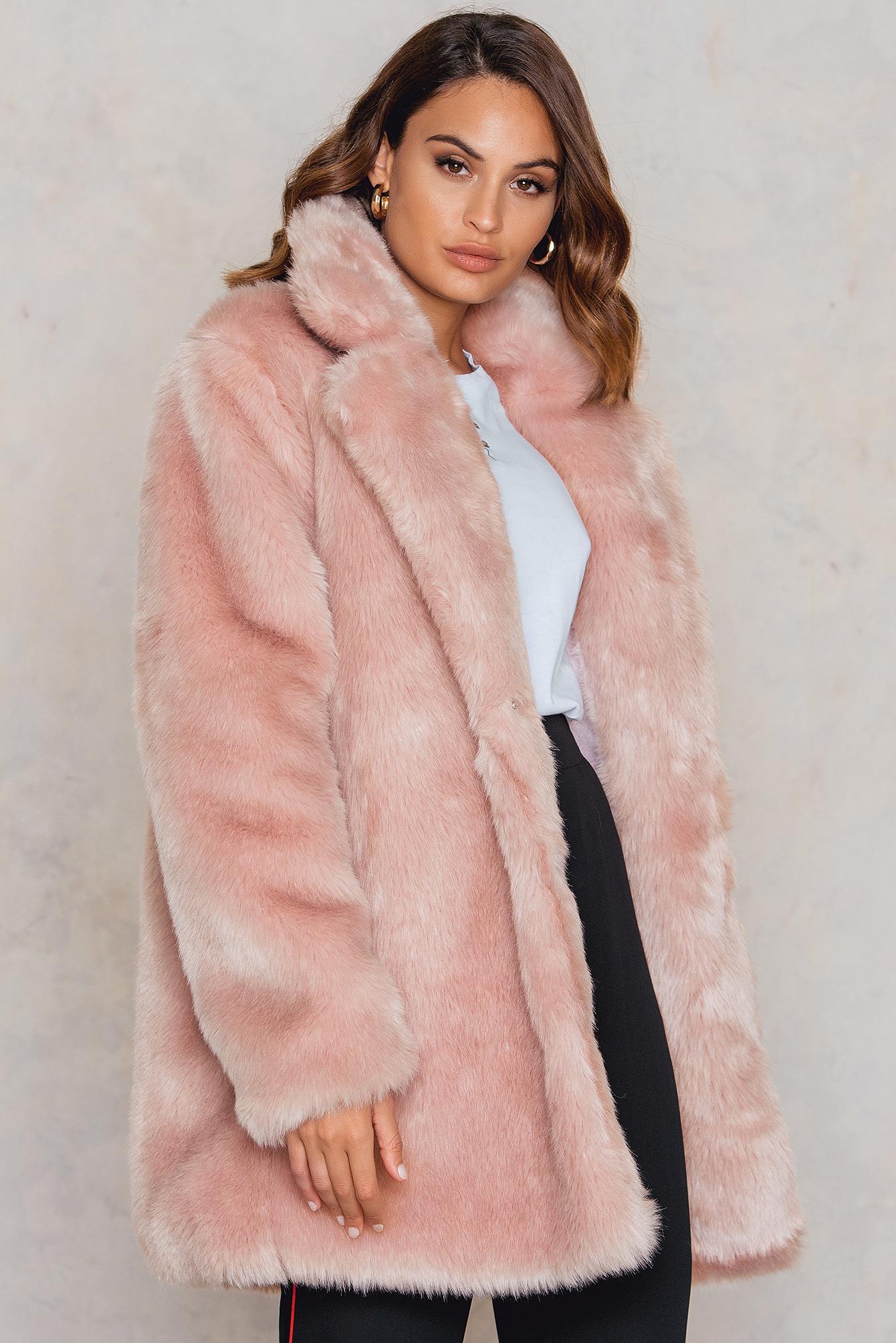 c743fbaf560 Lyst - NA-KD Colored Faux Fur Coat in Pink