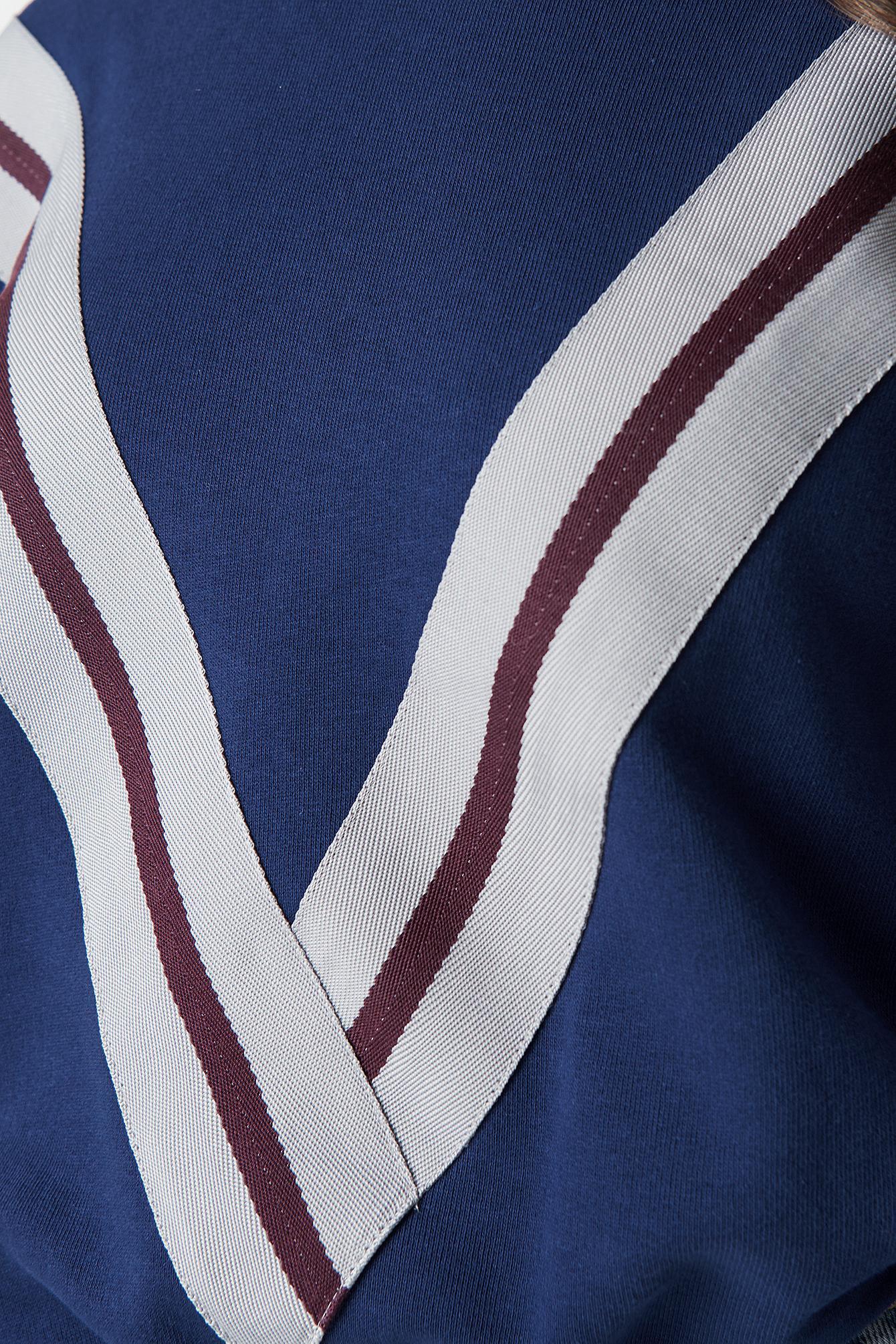 NA-KD Cotton V Striped Hoodie Blue