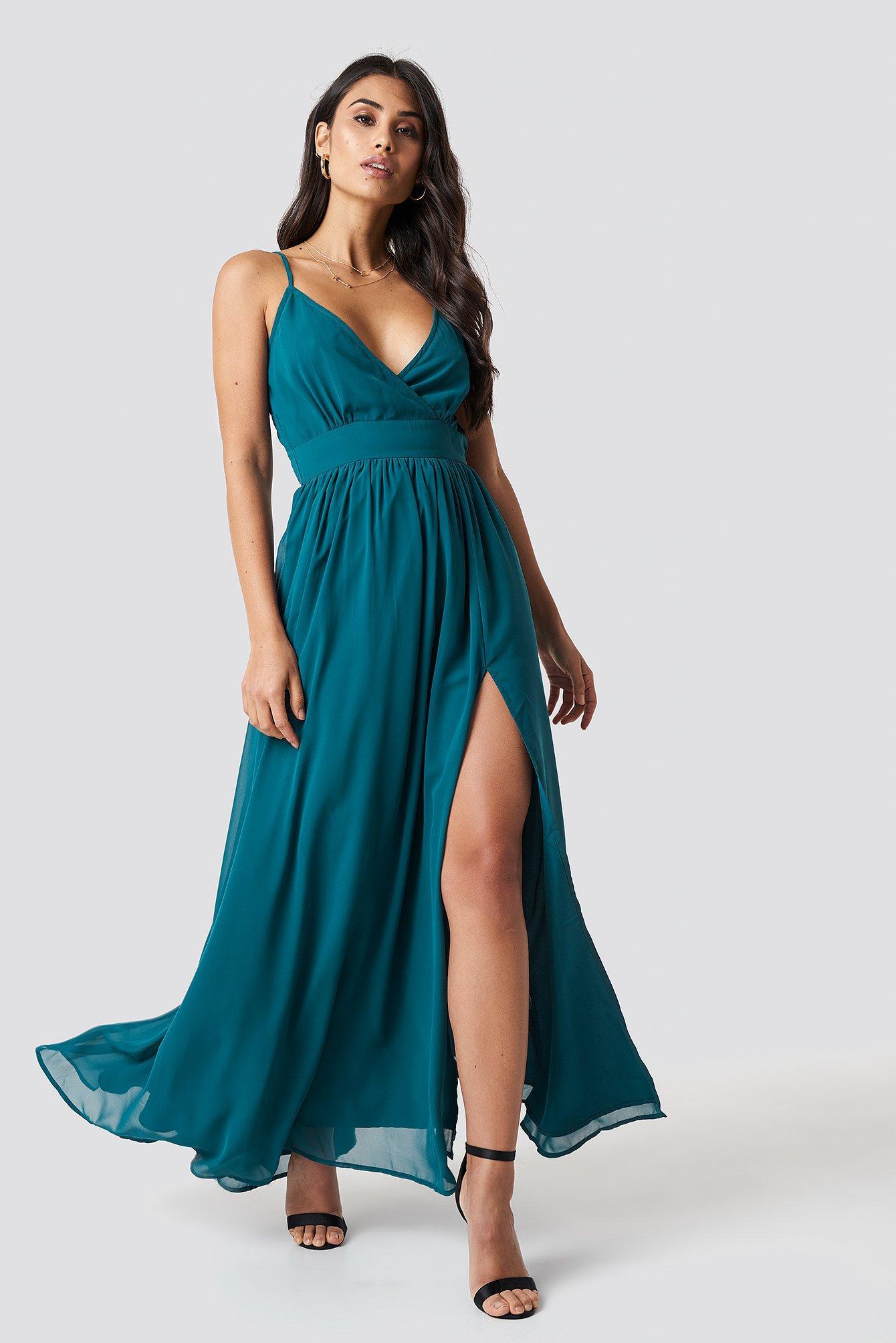 Lyst - Na-Kd Front Overlap Maxi Dress Petrol in Blue dd89a267b0