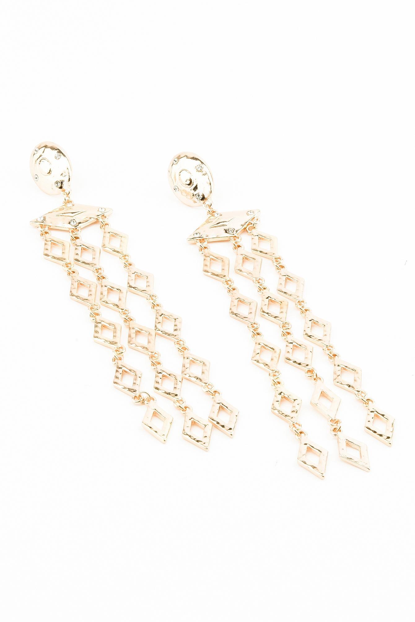 NA-KD Romb Chain Earring Gold in Metallic