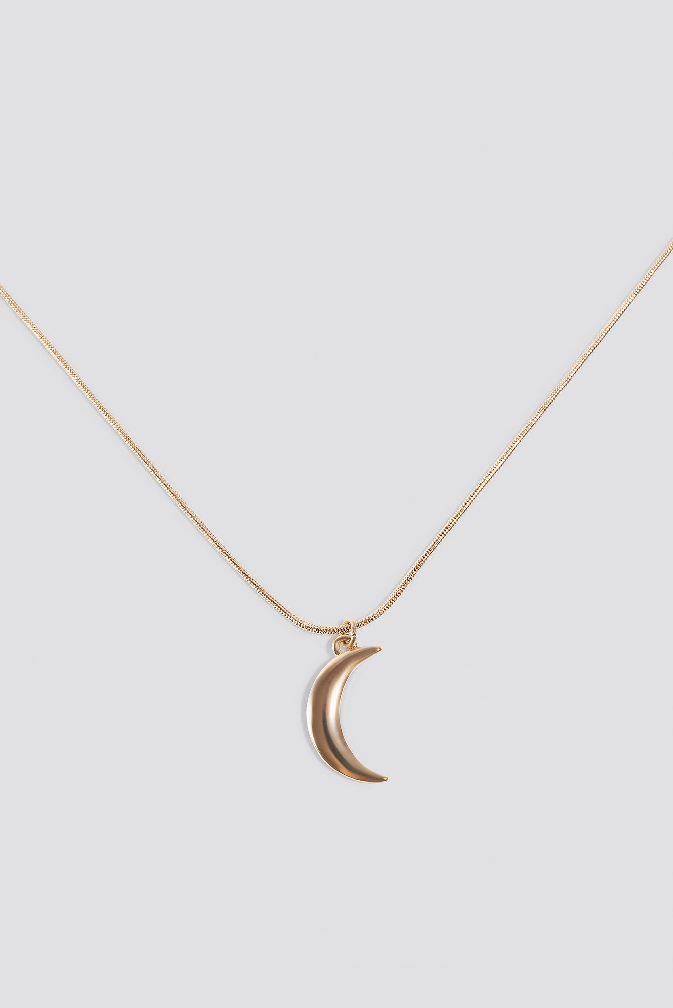 NA-KD Nina Groer Moon Necklace Gold in Metallic