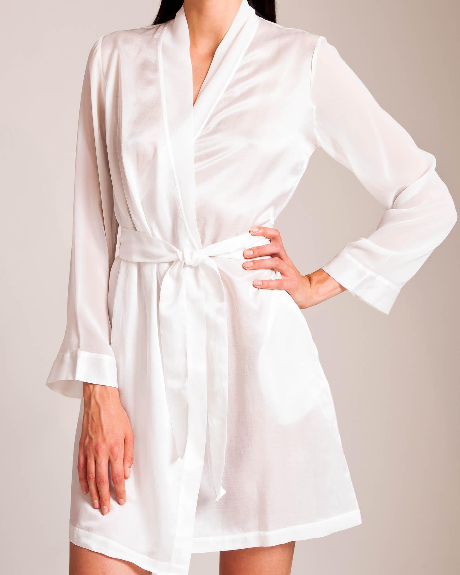 Lyst - La Perla Jazz Time Short Robe in White 9f93593fa