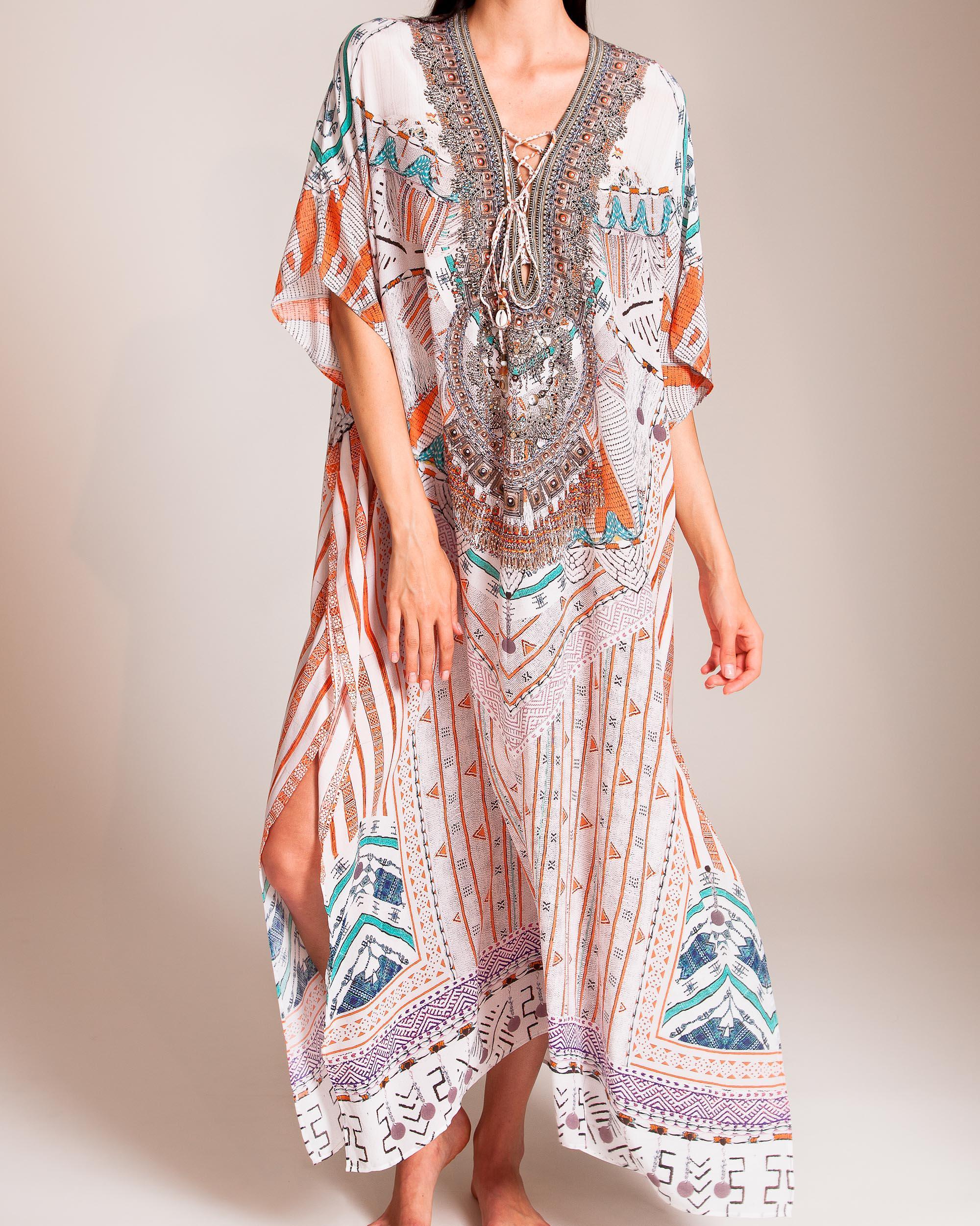 a81151a8f3 Camilla Desert Rose Lace-up Kaftan - Lyst