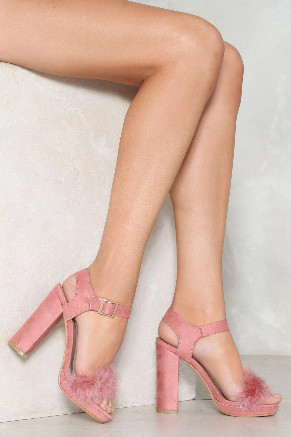 d9d553d8e5d Nasty Gal Pink Fluffy Block Heel 2 Part Heels Fluffy Block Heel 2 Part Heels
