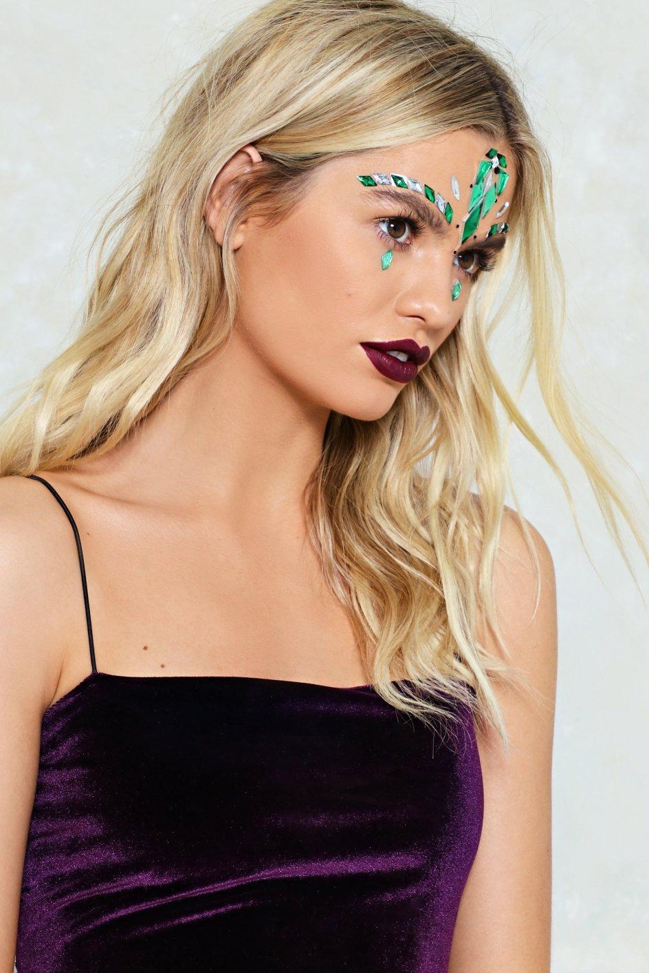 Nasty Gal Synthetic Joke's On You Face Jewels Joke's On You Face Jewels in Green