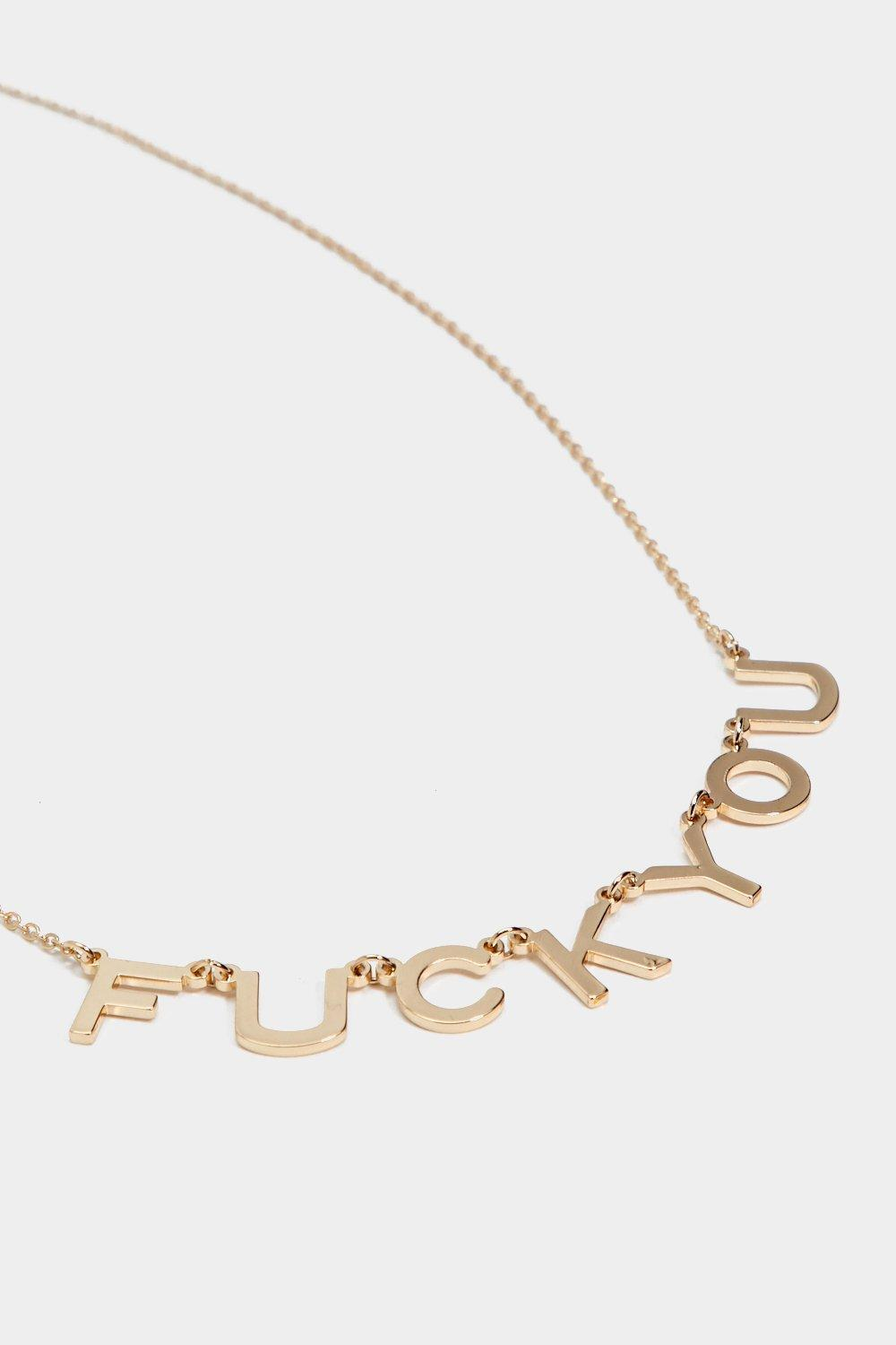 "Nasty Gal Synthetic ""fuck You Necklace"" in Gold (Metallic)"