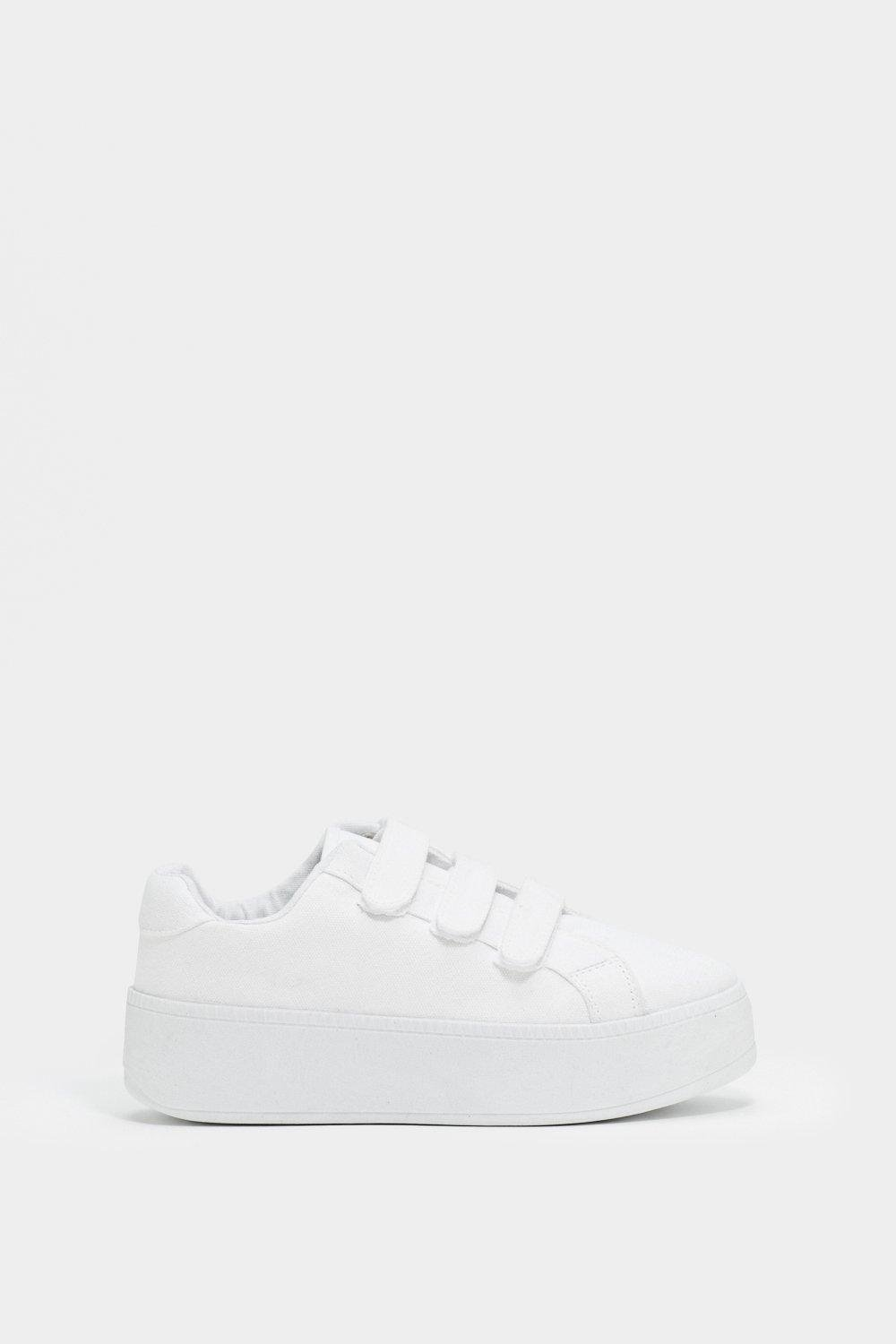 Nasty Gal Leather You Raise Me Up Platform Sneaker in White