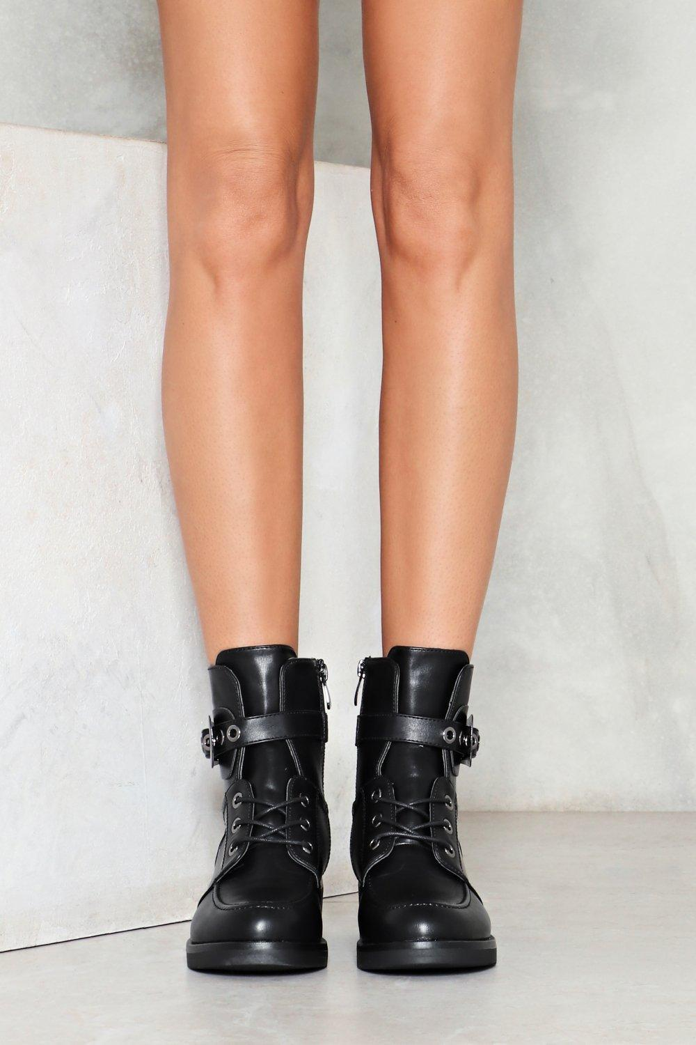Nasty Gal Take The Lead Vegan Leather Boot in Black