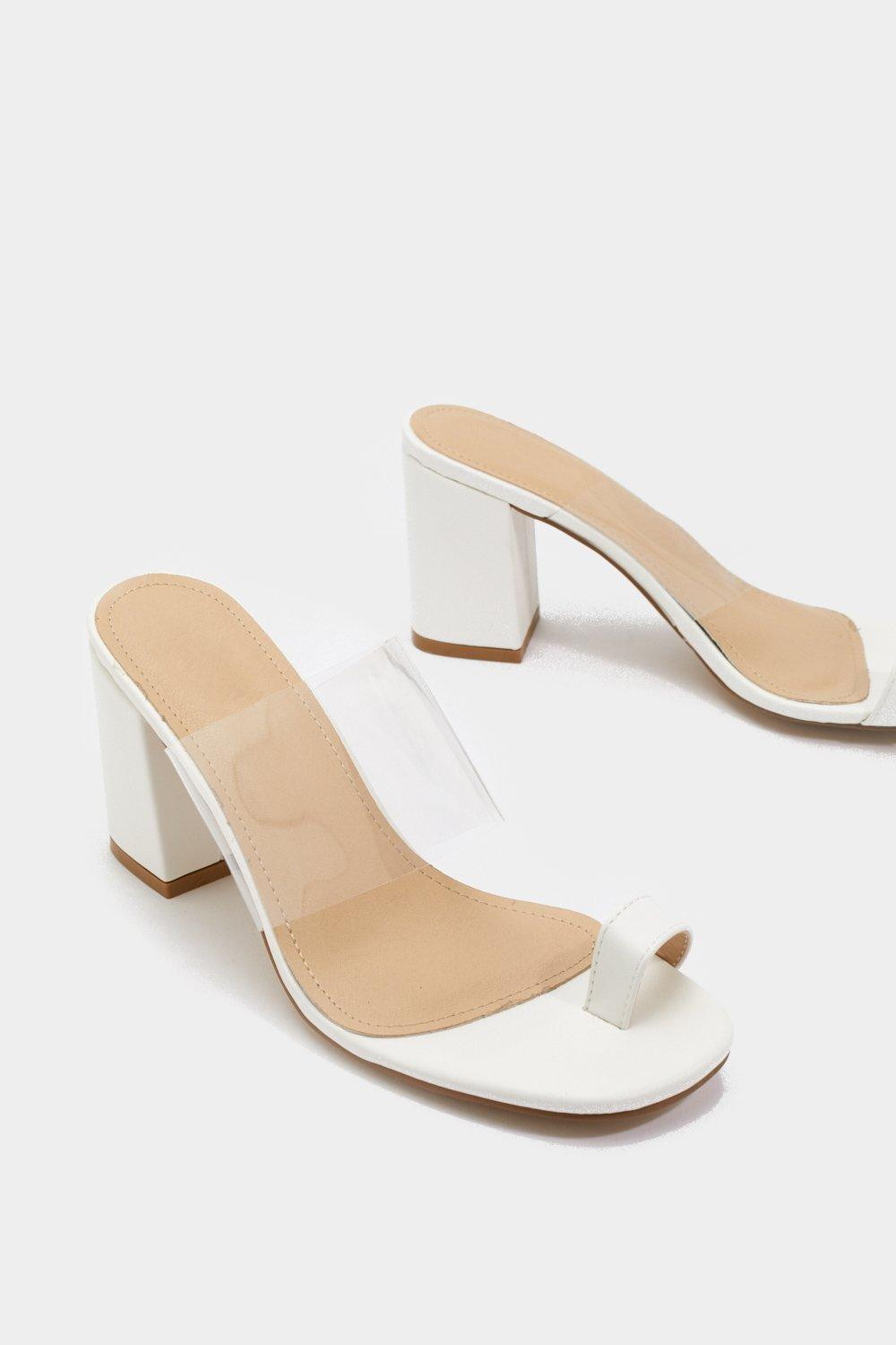 acca58648e8 ... White Perspex Toe Strap Block Heel Sandals - Lyst. View fullscreen