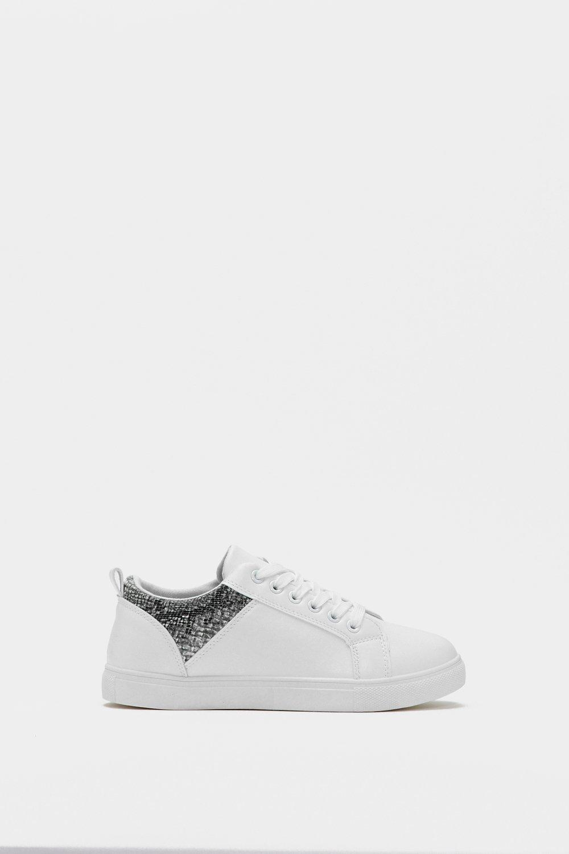 Nasty Gal Leather For Fuck Snake Sneaker in White