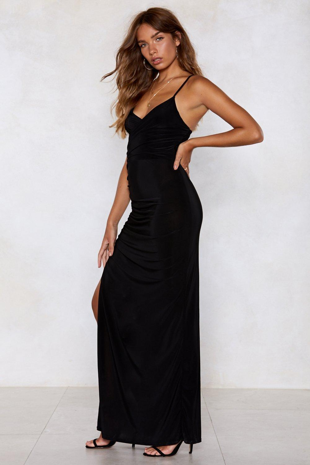 """Nasty Gal Synthetic """"we'll Do The Splits Maxi Dress"""" in Black"""